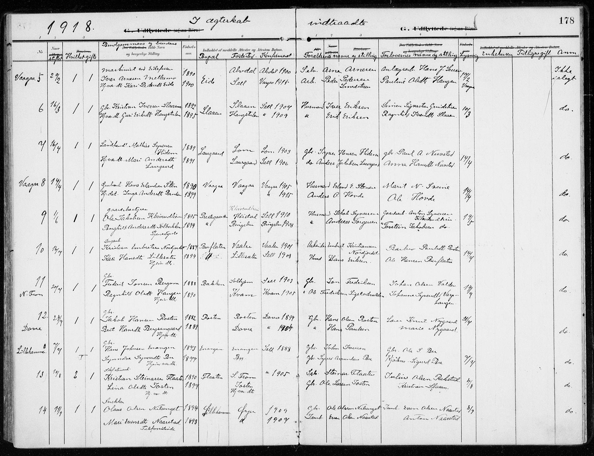 SAH, Sel prestekontor, Ministerialbok nr. 2, 1905-1919, s. 178