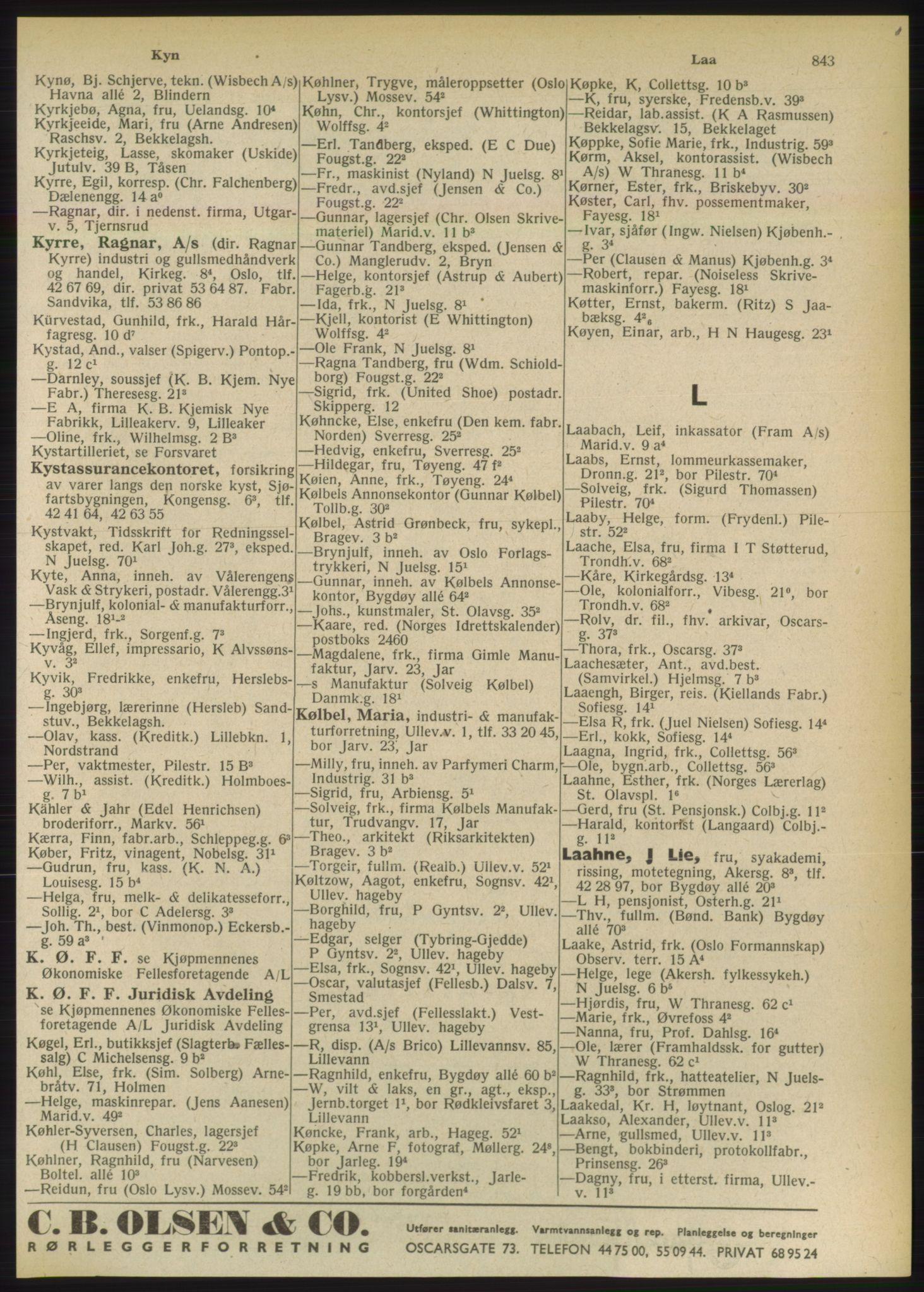 PUBL, Kristiania/Oslo adressebok, 1949, s. 843