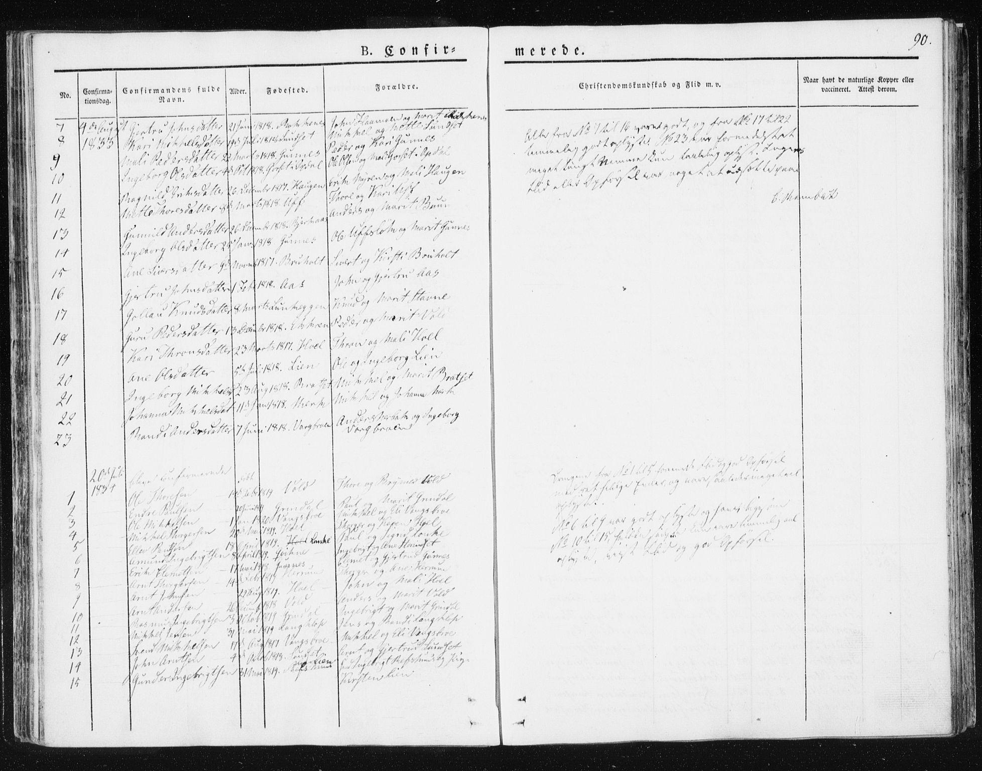 SAT, Ministerialprotokoller, klokkerbøker og fødselsregistre - Sør-Trøndelag, 674/L0869: Ministerialbok nr. 674A01, 1829-1860, s. 90