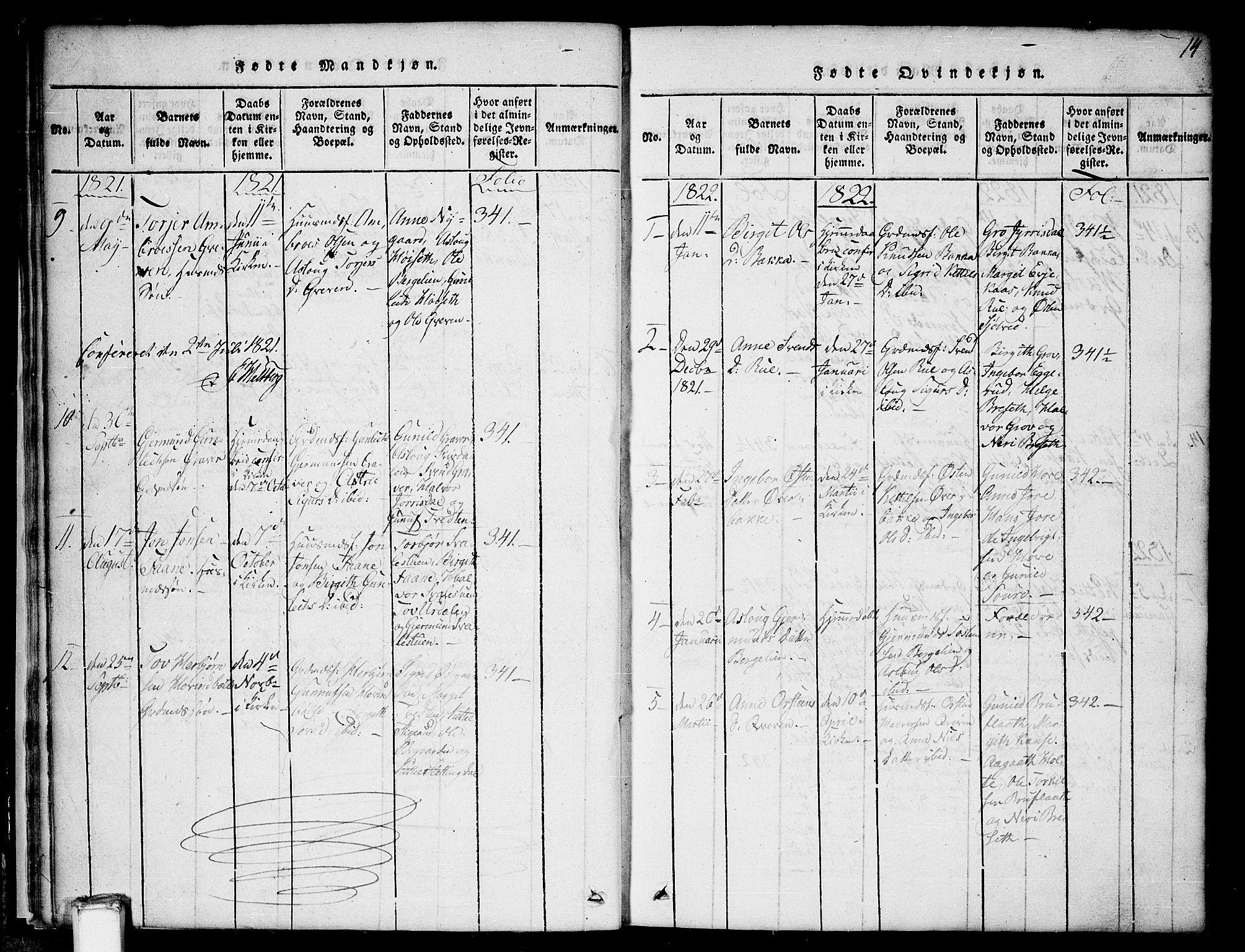 SAKO, Gransherad kirkebøker, G/Gb/L0001: Klokkerbok nr. II 1, 1815-1860, s. 14