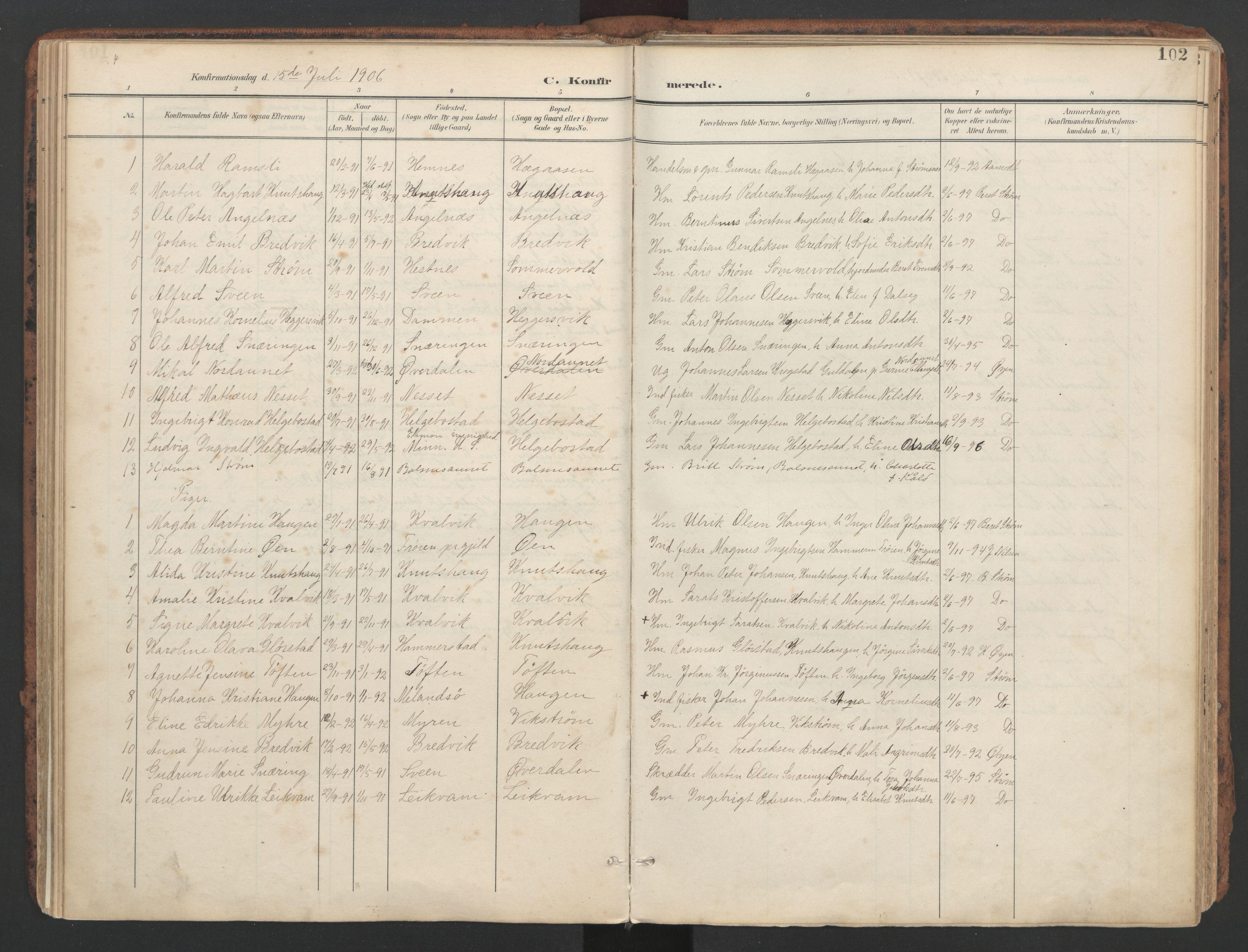 SAT, Ministerialprotokoller, klokkerbøker og fødselsregistre - Sør-Trøndelag, 634/L0537: Ministerialbok nr. 634A13, 1896-1922, s. 102