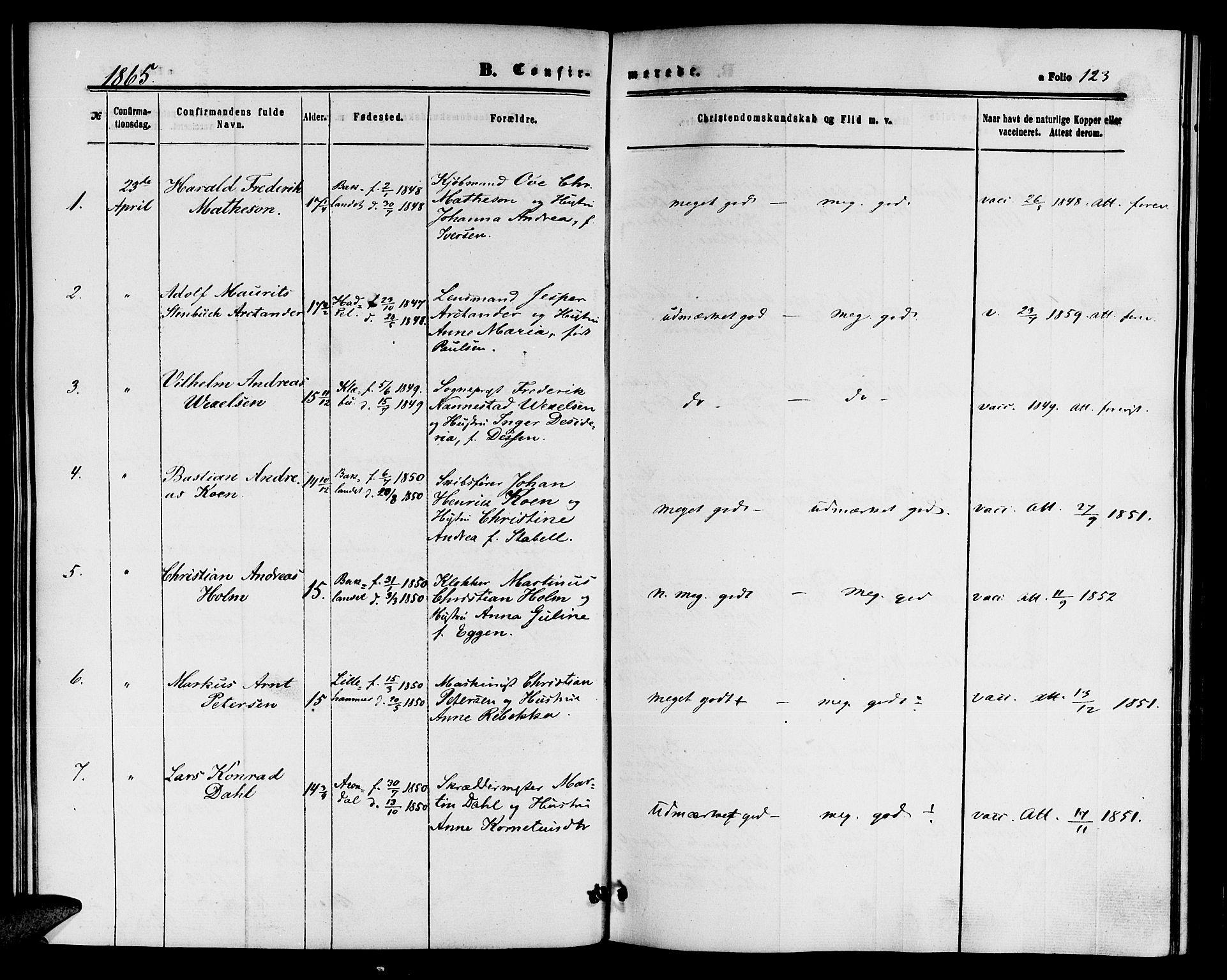 SAT, Ministerialprotokoller, klokkerbøker og fødselsregistre - Sør-Trøndelag, 604/L0185: Ministerialbok nr. 604A06, 1861-1865, s. 123