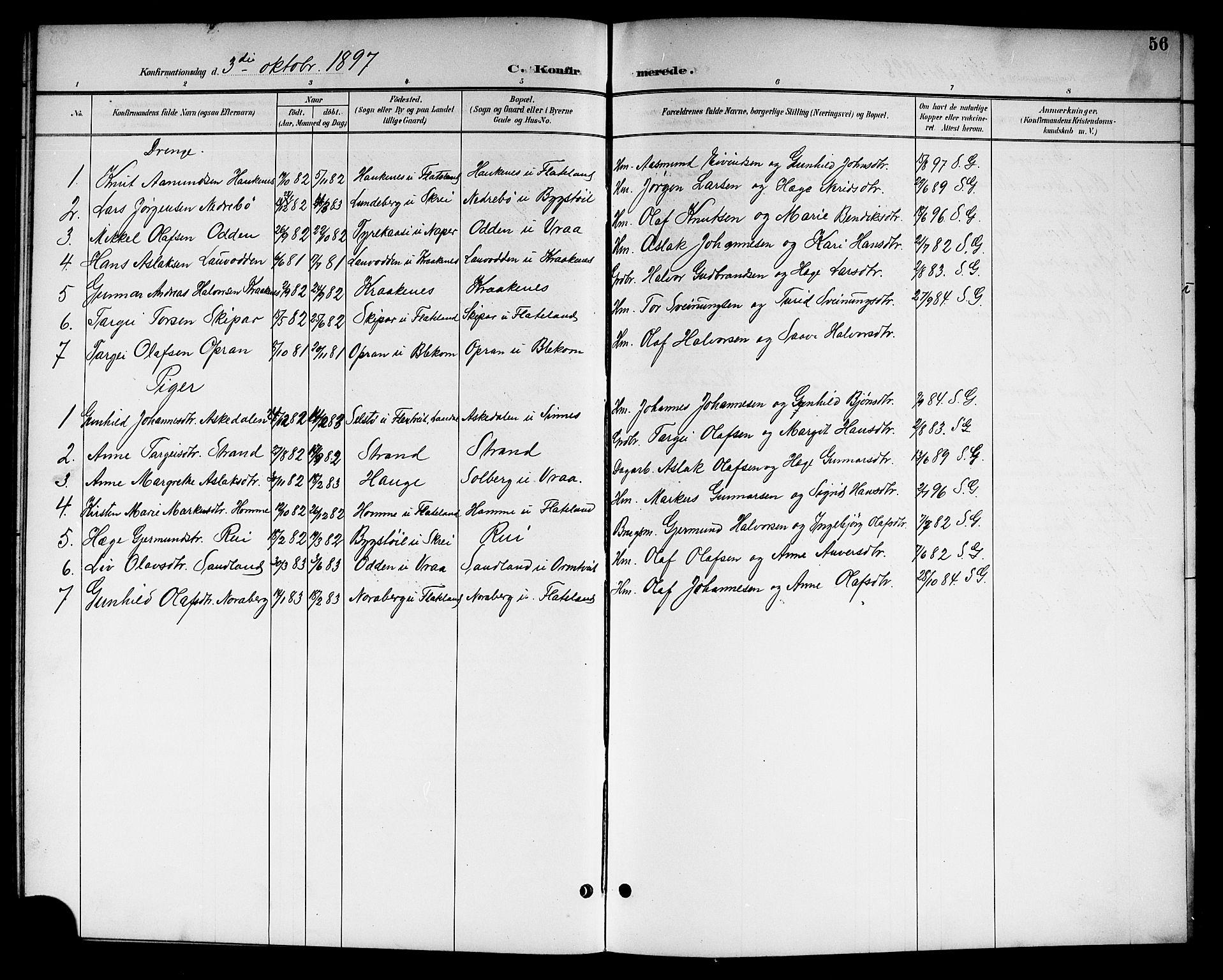 SAKO, Kviteseid kirkebøker, G/Gc/L0001: Klokkerbok nr. III 1, 1893-1916, s. 56