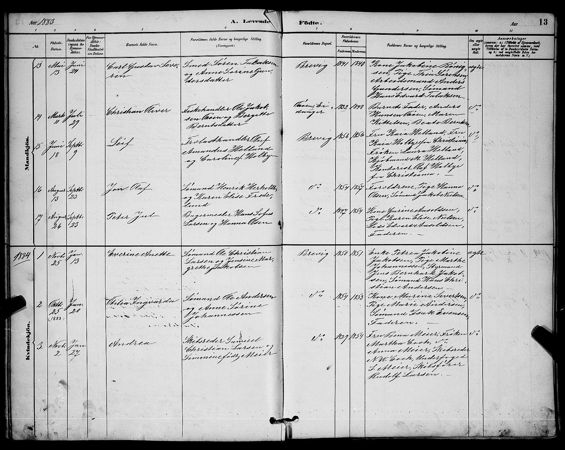 SAKO, Brevik kirkebøker, G/Ga/L0004: Klokkerbok nr. 4, 1882-1900, s. 13