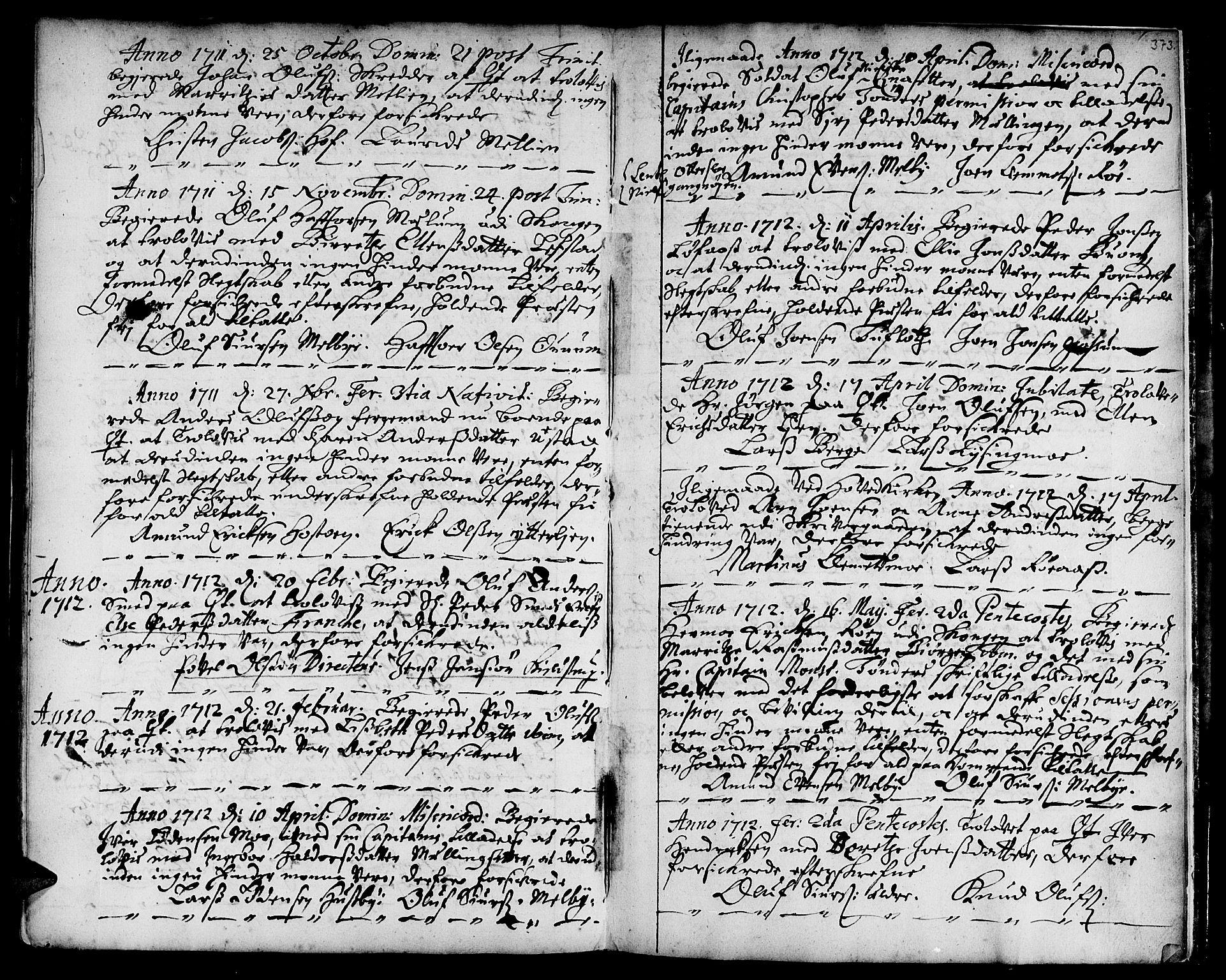 SAT, Ministerialprotokoller, klokkerbøker og fødselsregistre - Sør-Trøndelag, 668/L0801: Ministerialbok nr. 668A01, 1695-1716, s. 372-373