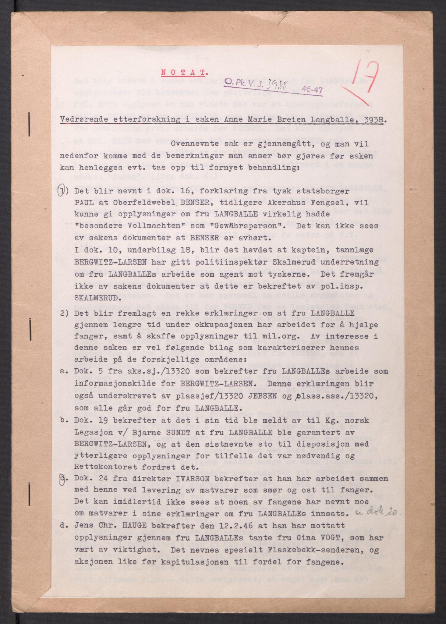 RA, Landssvikarkivet, Oslo politikammer, D/Dg/L0267: Henlagt hnr. 3658, 1945-1946, s. 257