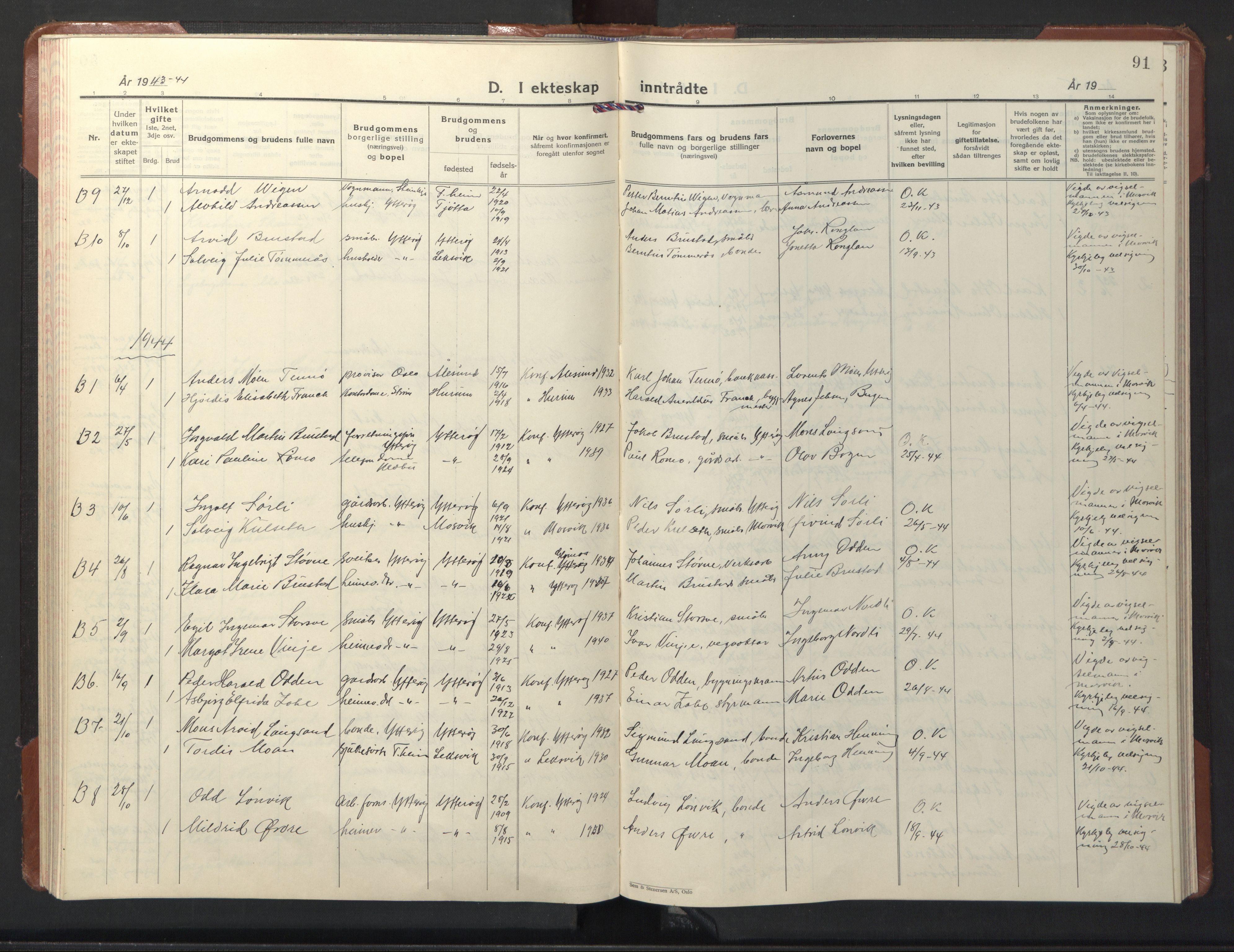 SAT, Ministerialprotokoller, klokkerbøker og fødselsregistre - Nord-Trøndelag, 722/L0227: Klokkerbok nr. 722C03, 1928-1958, s. 91
