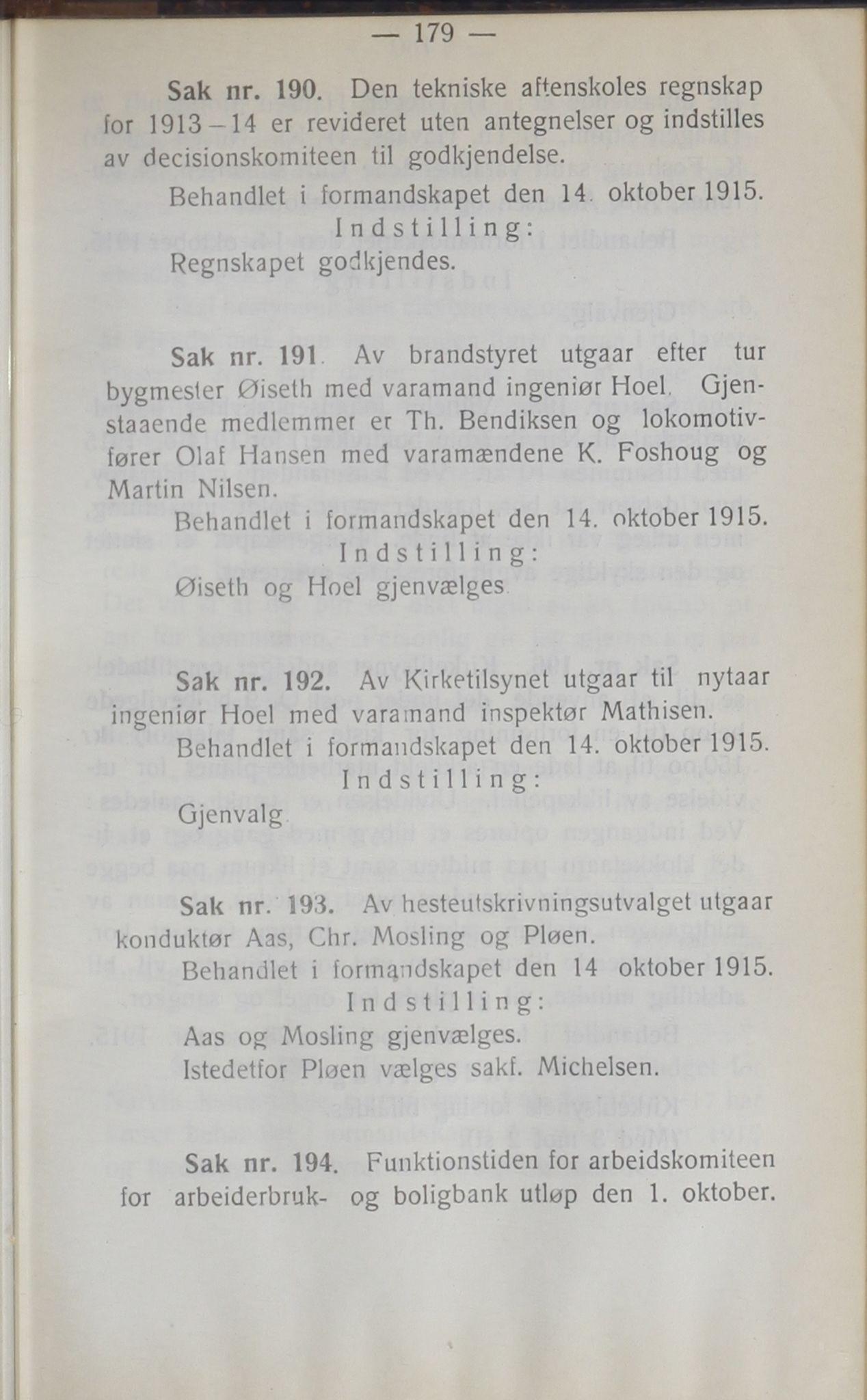 AIN, Narvik kommune. Formannskap , A/Ab/L0005: Møtebok, 1915
