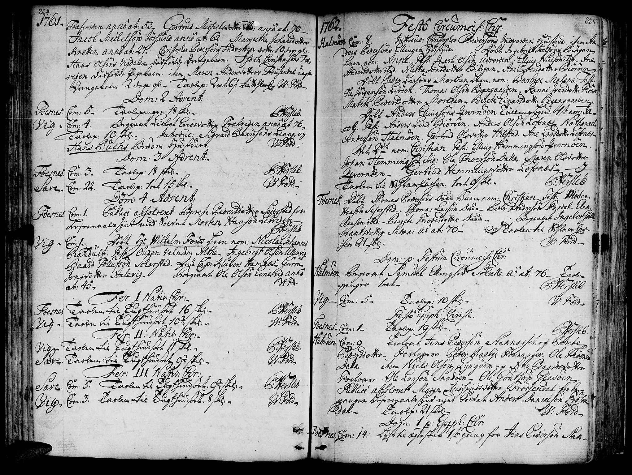 SAT, Ministerialprotokoller, klokkerbøker og fødselsregistre - Nord-Trøndelag, 773/L0607: Ministerialbok nr. 773A01, 1751-1783, s. 224-225