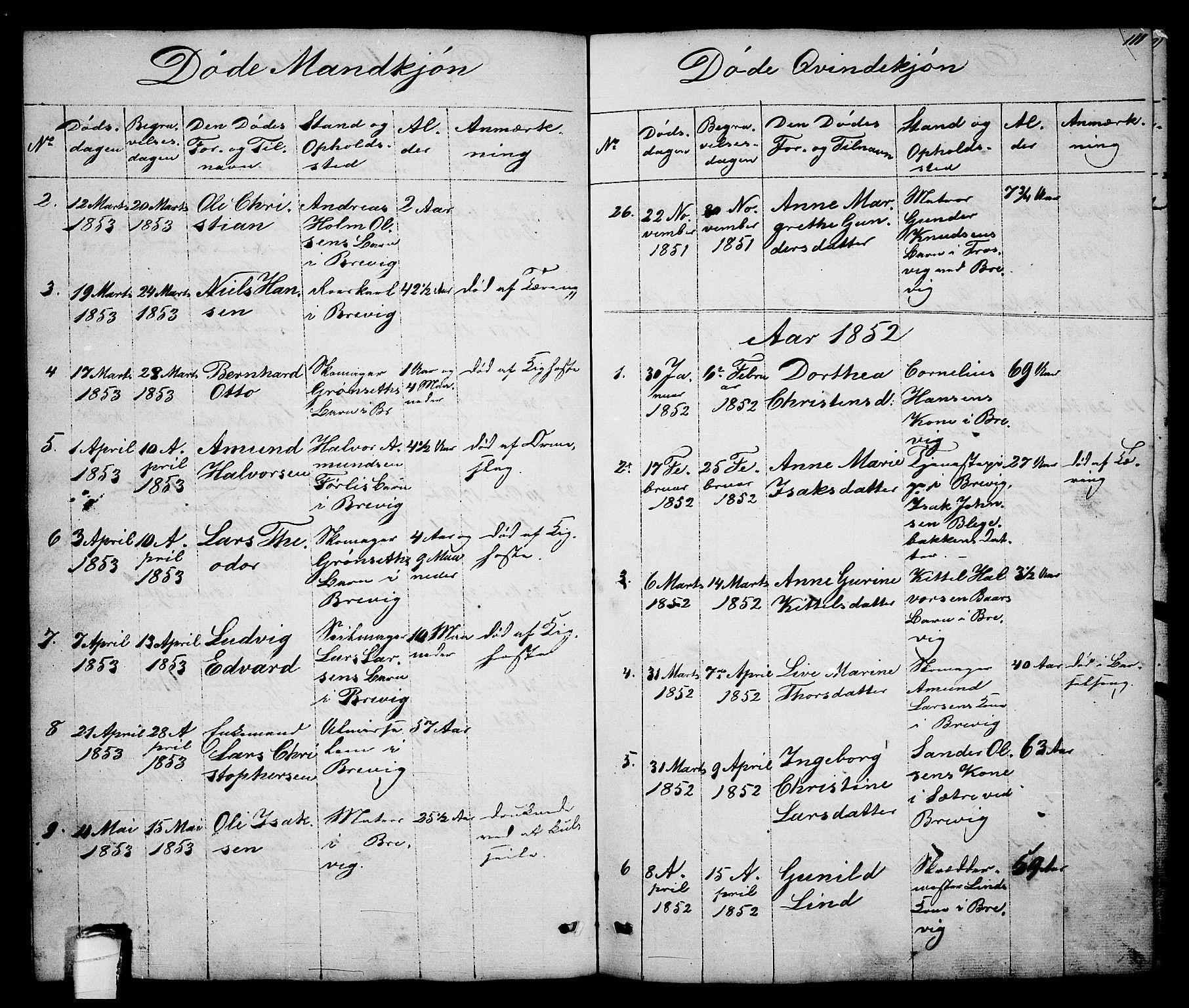 SAKO, Brevik kirkebøker, G/Ga/L0002: Klokkerbok nr. 2, 1846-1865, s. 111