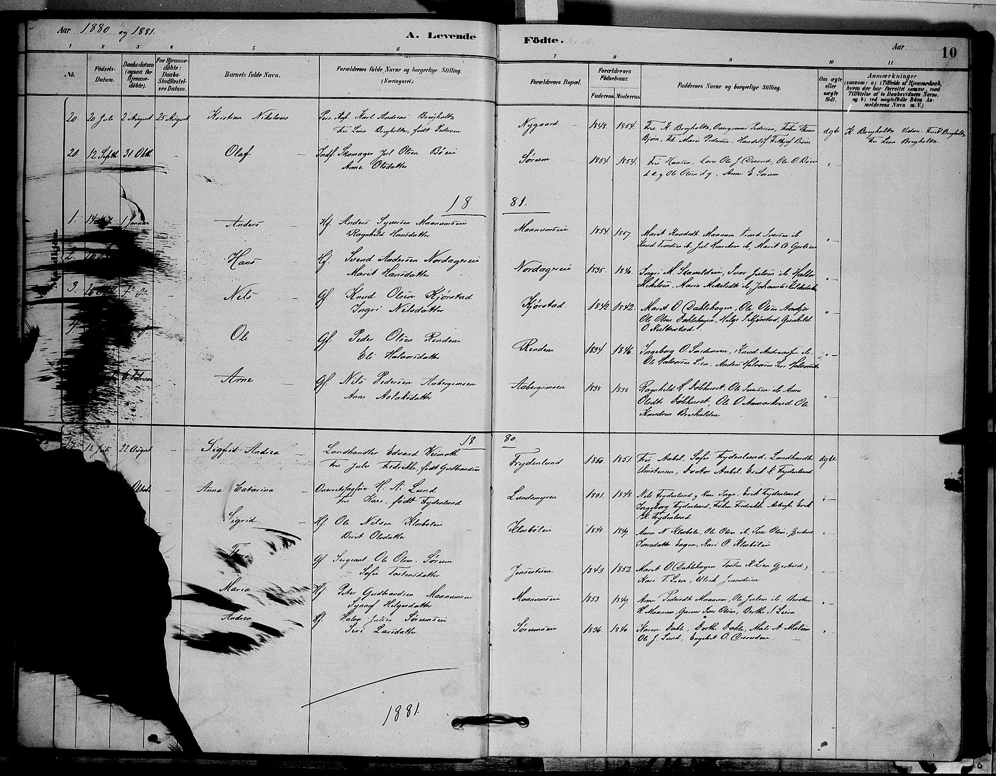 SAH, Nord-Aurdal prestekontor, Klokkerbok nr. 6, 1878-1892, s. 10