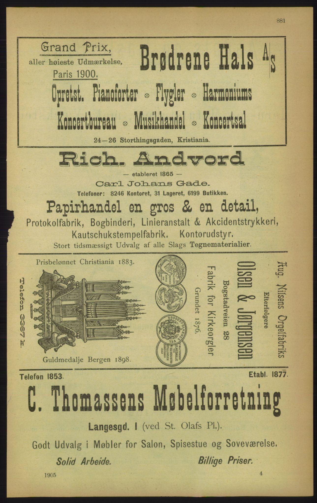 RA, Kristiania adressebok (publikasjon)*, 1905, s. 881
