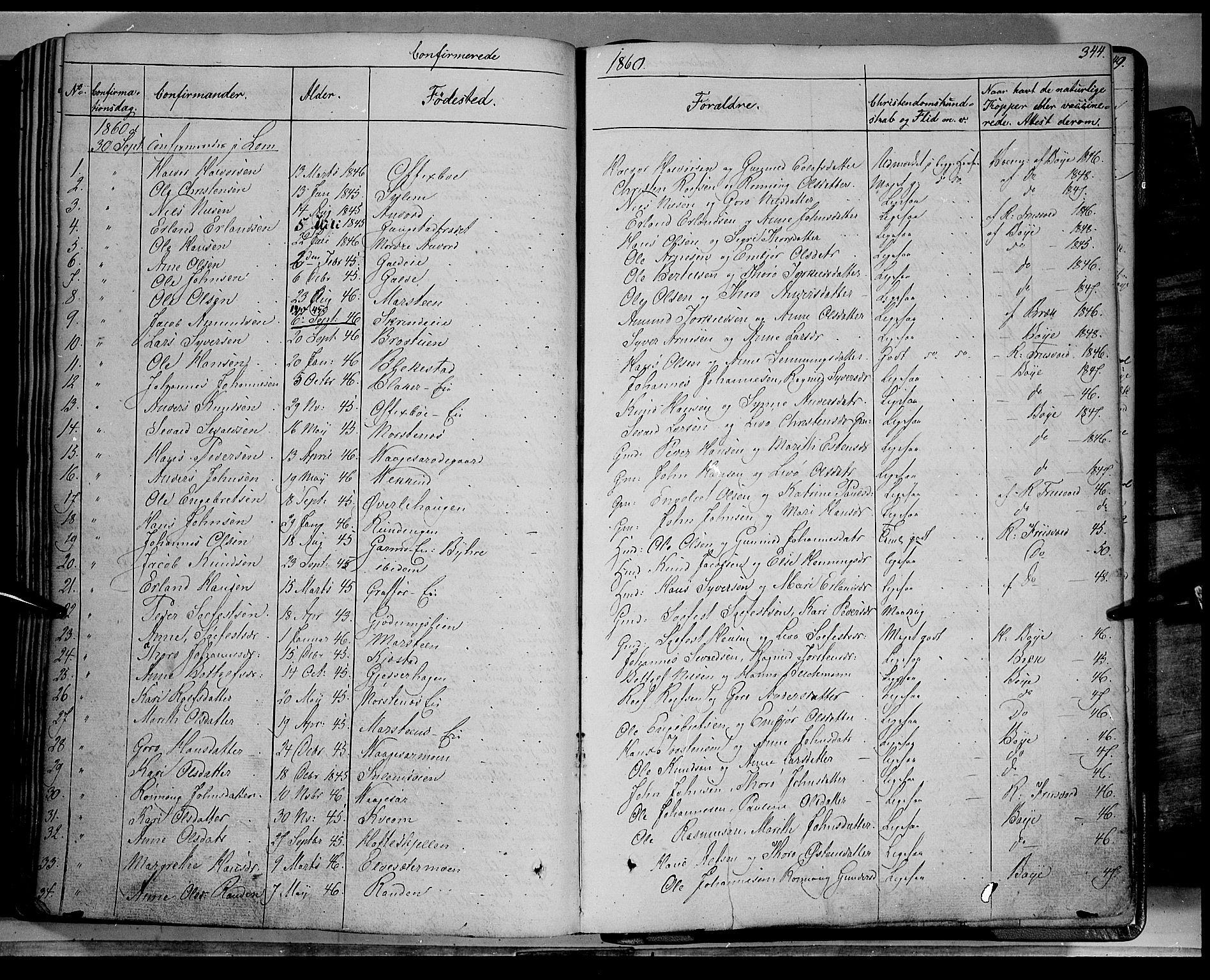 SAH, Lom prestekontor, K/L0006: Ministerialbok nr. 6A, 1837-1863, s. 344