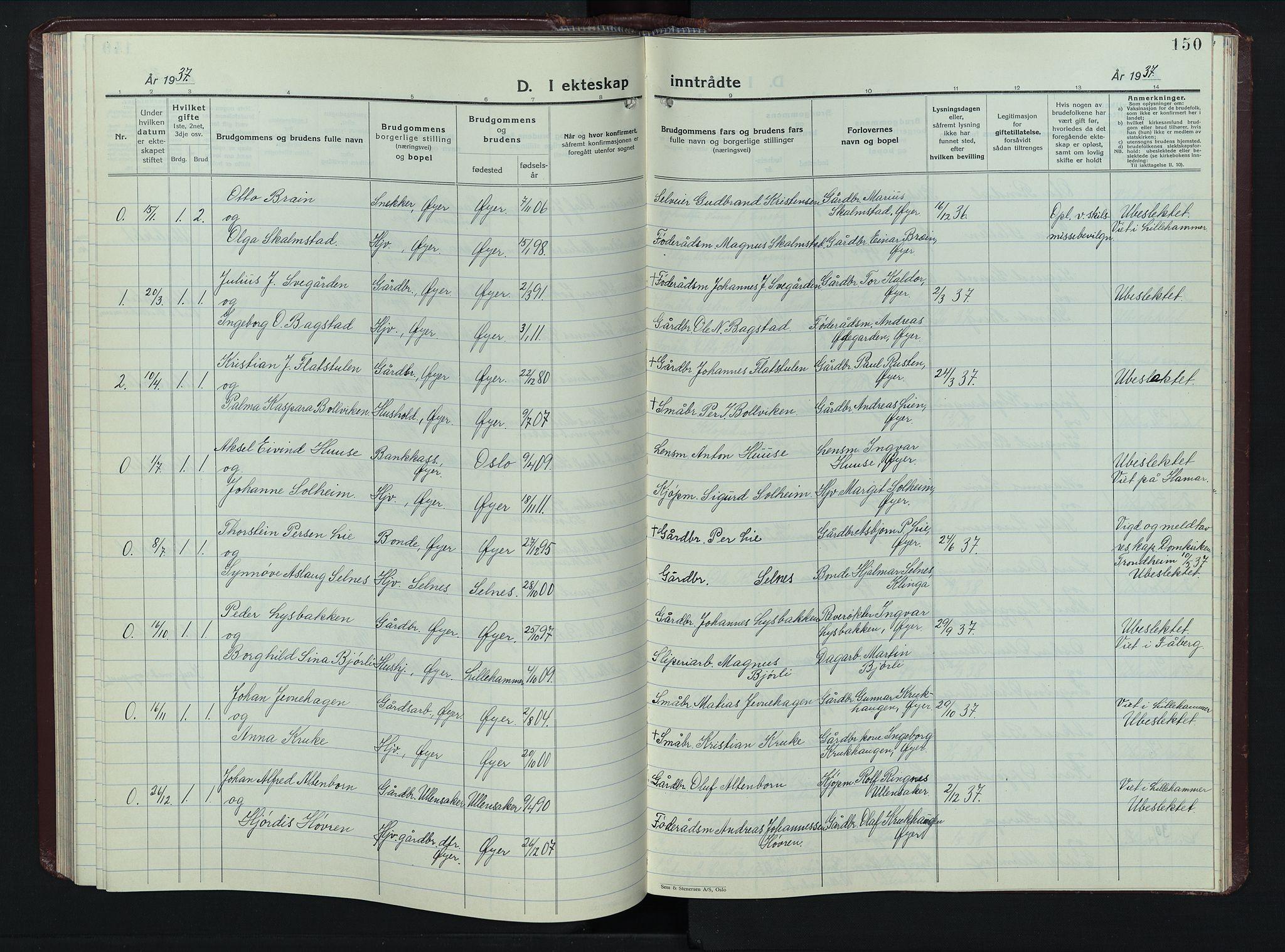SAH, Øyer prestekontor, Klokkerbok nr. 8, 1929-1947, s. 150