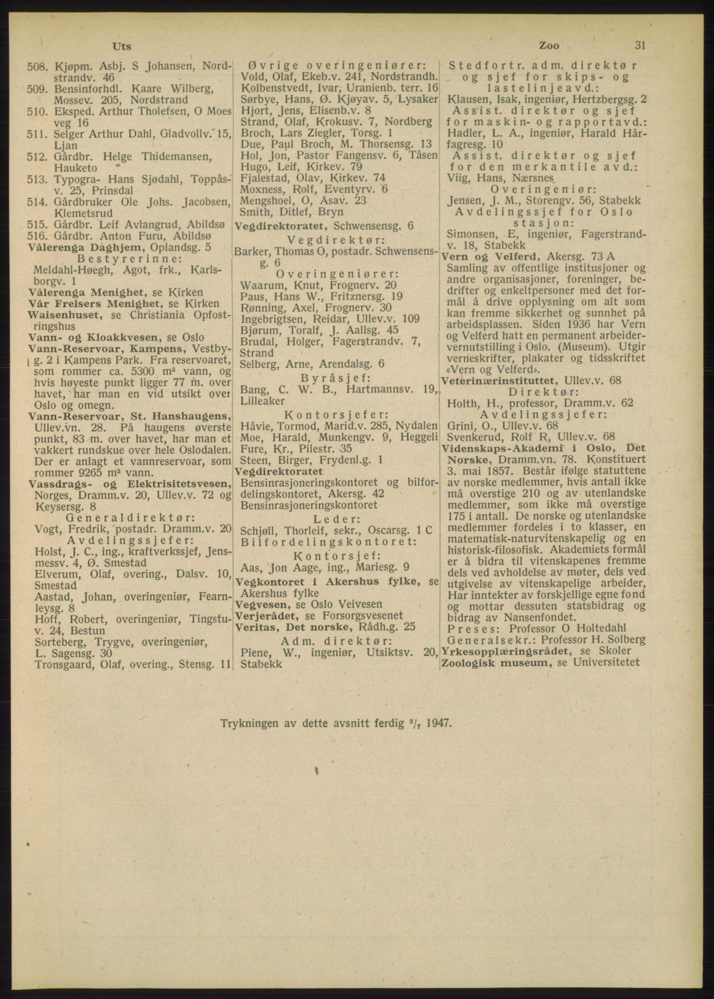 RA, Oslo adressebok (publikasjon)*, 1948, s. 31