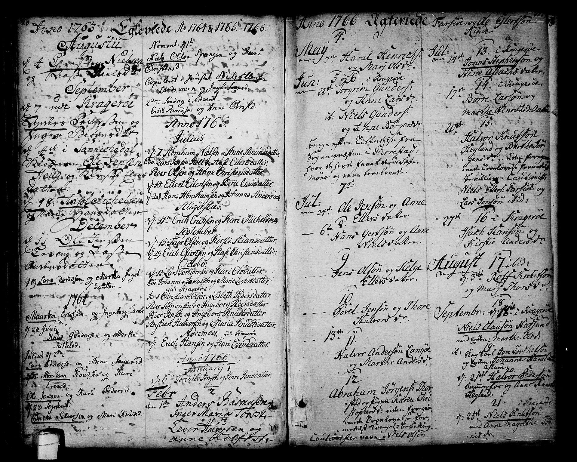SAKO, Sannidal kirkebøker, F/Fa/L0001: Ministerialbok nr. 1, 1702-1766, s. 70-71