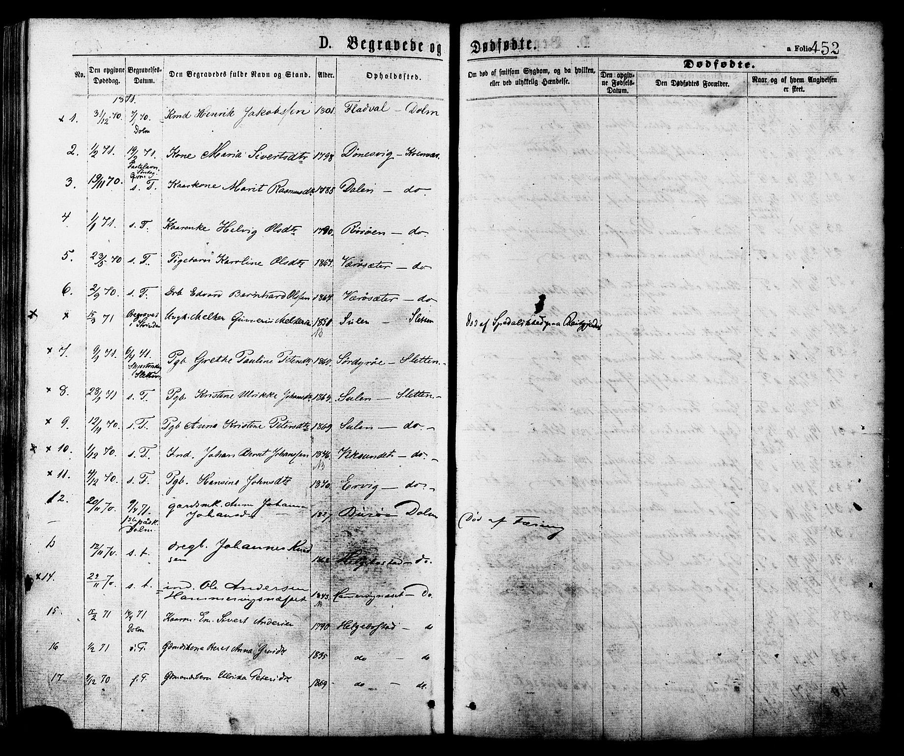 SAT, Ministerialprotokoller, klokkerbøker og fødselsregistre - Sør-Trøndelag, 634/L0532: Ministerialbok nr. 634A08, 1871-1881, s. 452