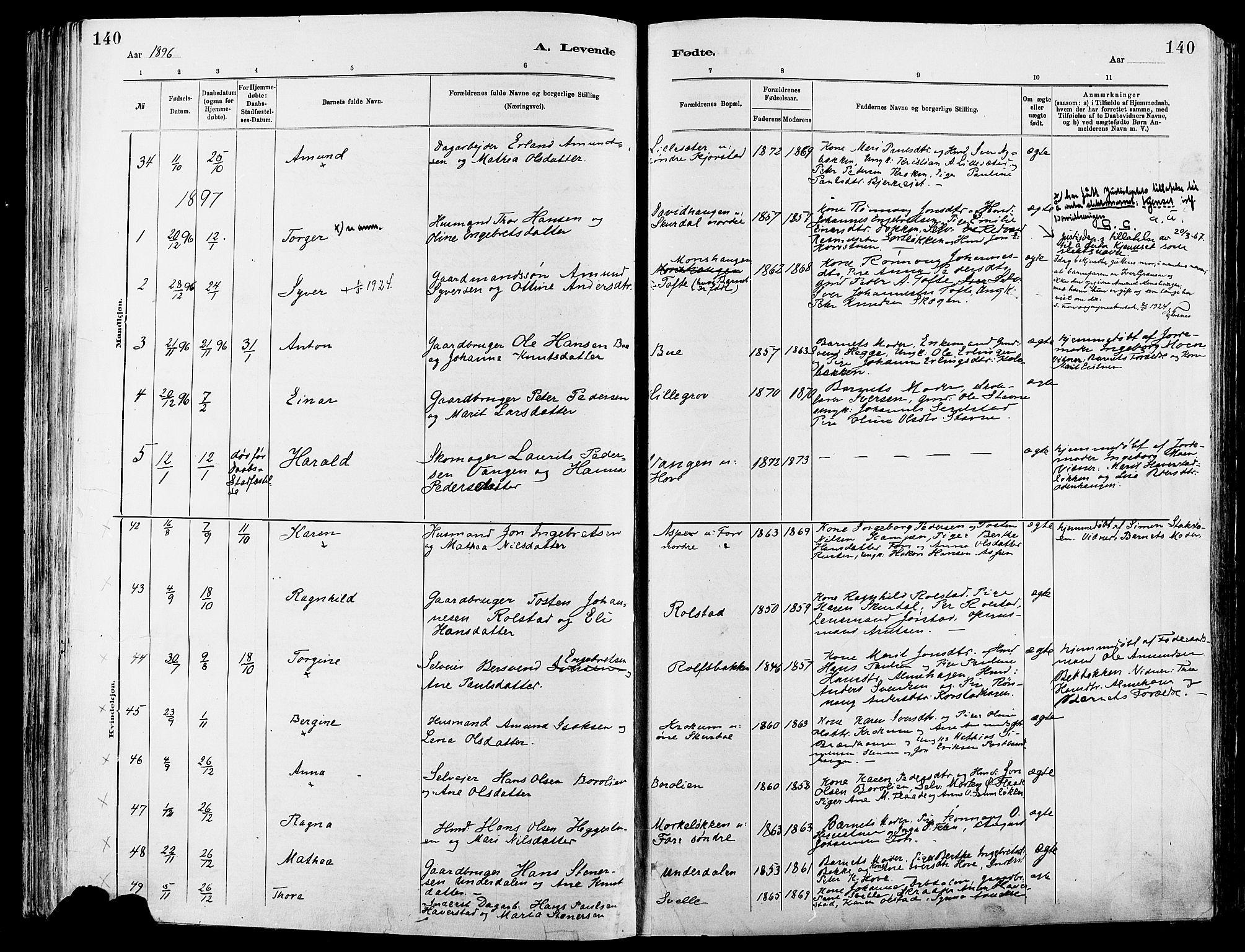 SAH, Sør-Fron prestekontor, H/Ha/Haa/L0003: Ministerialbok nr. 3, 1881-1897, s. 140