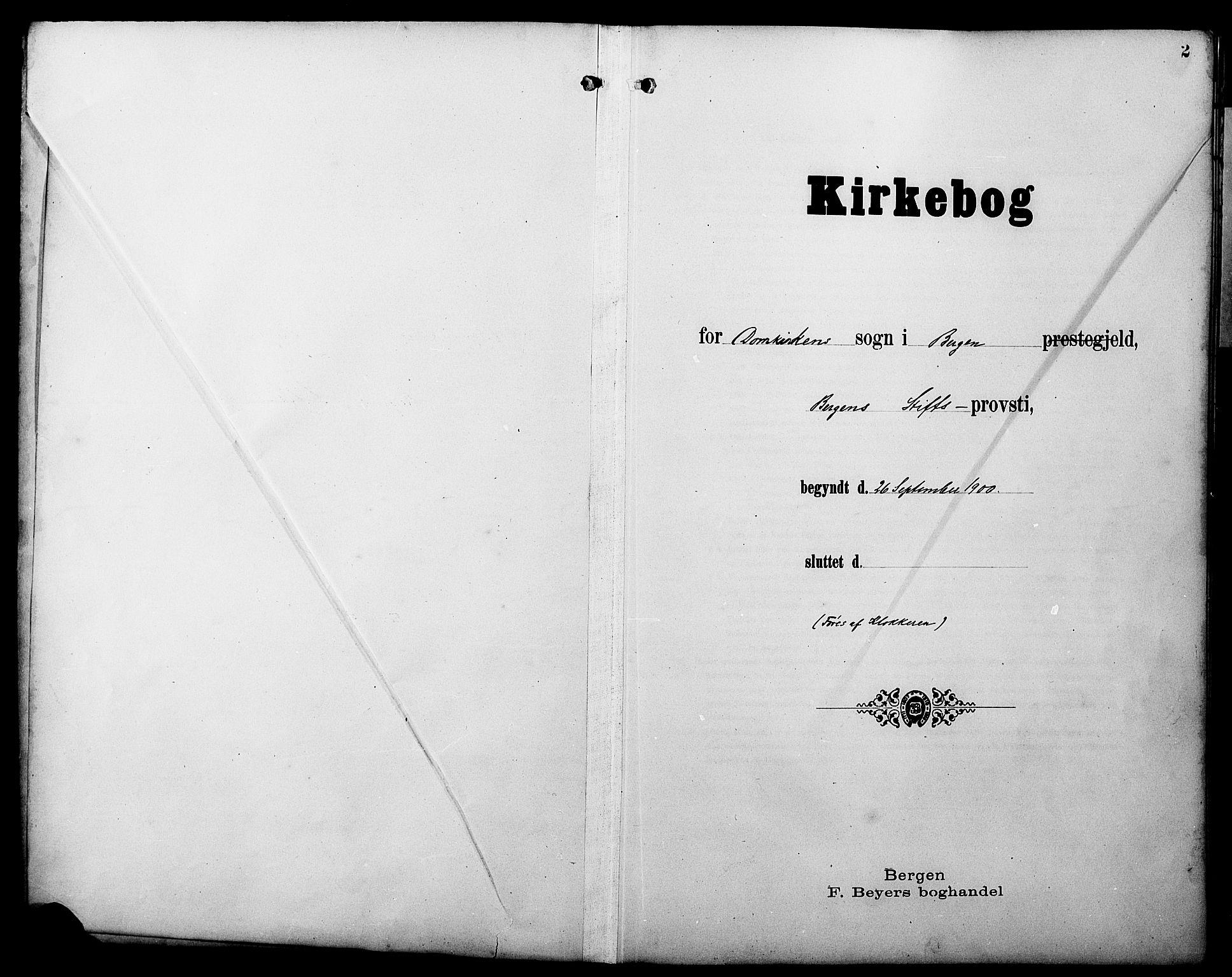 SAB, Domkirken Sokneprestembete, H/Hab/L0042: Klokkerbok nr. E 6, 1900-1929, s. 2