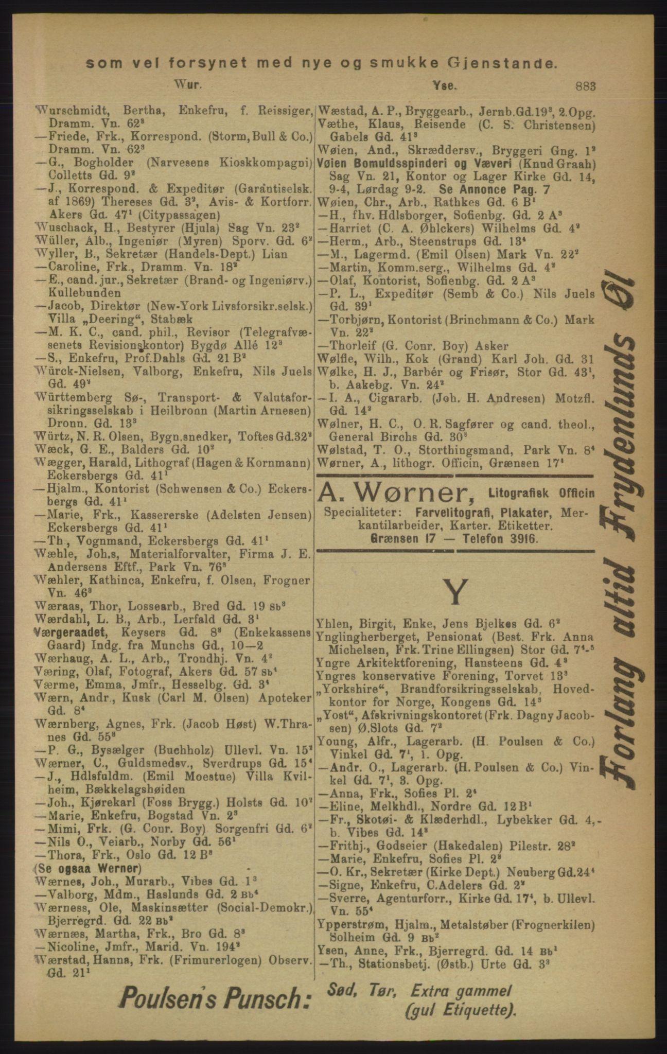 RA, Kristiania adressebok (publikasjon)*, 1906, s. 883
