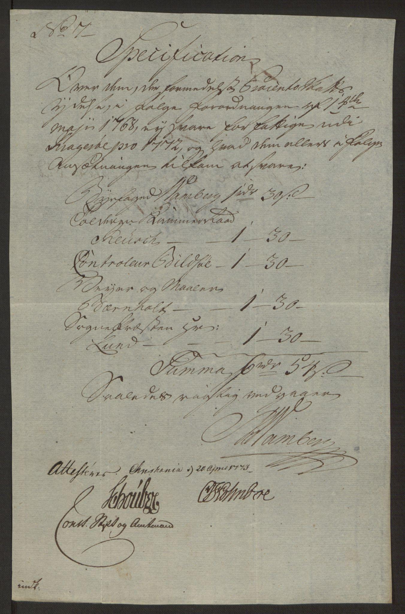 RA, Rentekammeret inntil 1814, Reviderte regnskaper, Byregnskaper, R/Rk/L0218: [K2] Kontribusjonsregnskap, 1768-1772, s. 96