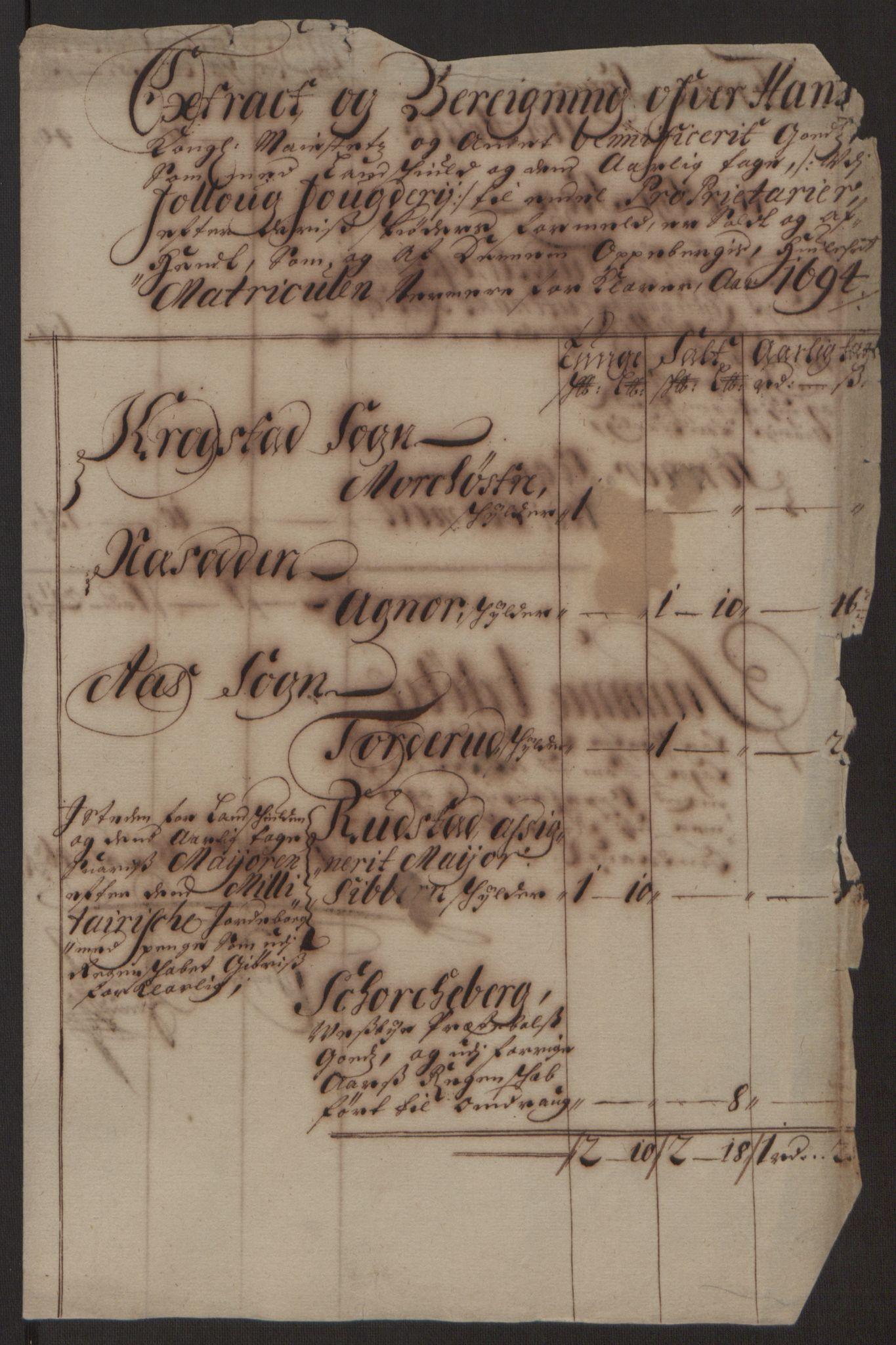 RA, Rentekammeret inntil 1814, Reviderte regnskaper, Fogderegnskap, R10/L0438: Fogderegnskap Aker og Follo, 1694, s. 67