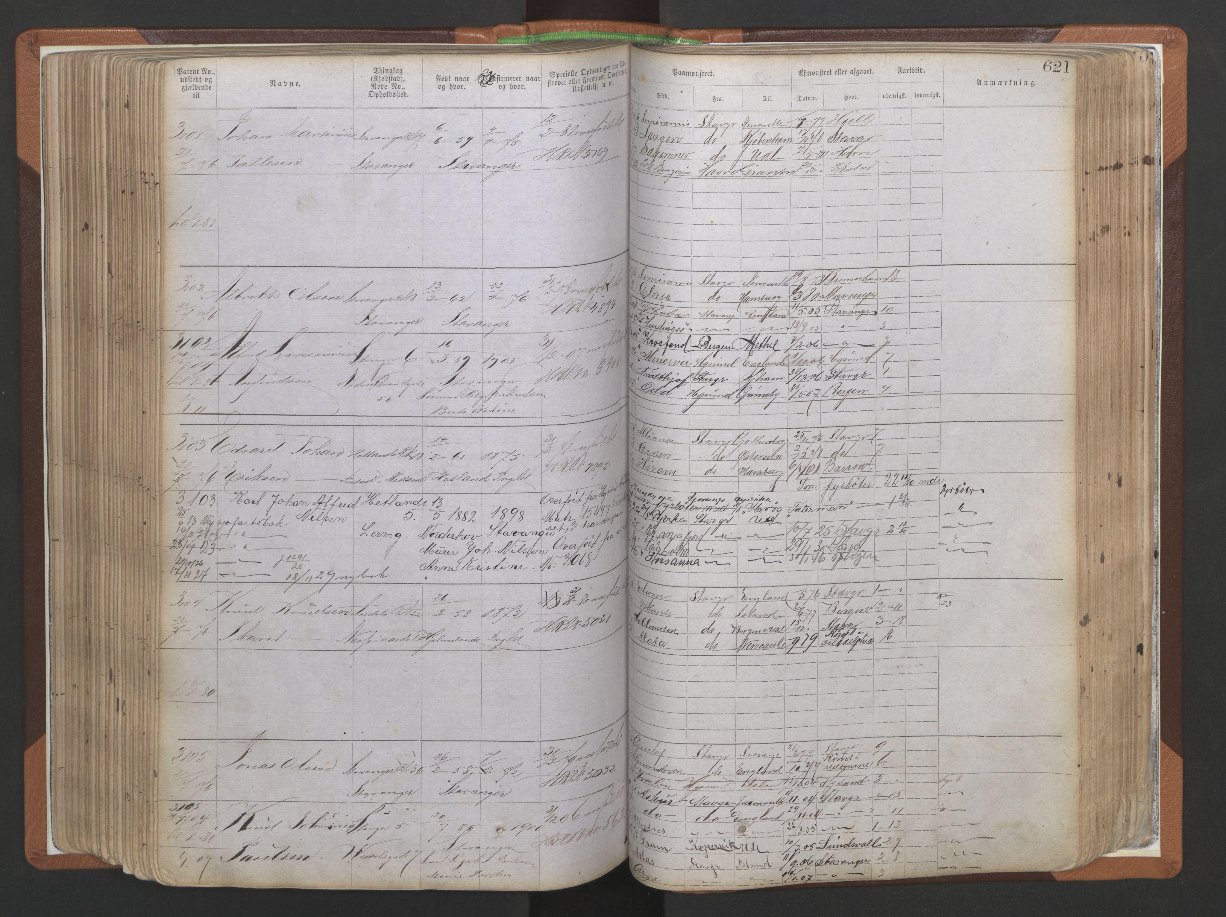 SAST, Stavanger sjømannskontor, F/Ff/L0009: Annotasjonsrulle, patentnr. 1805-3605 (dublett), 1872-1900, s. 264