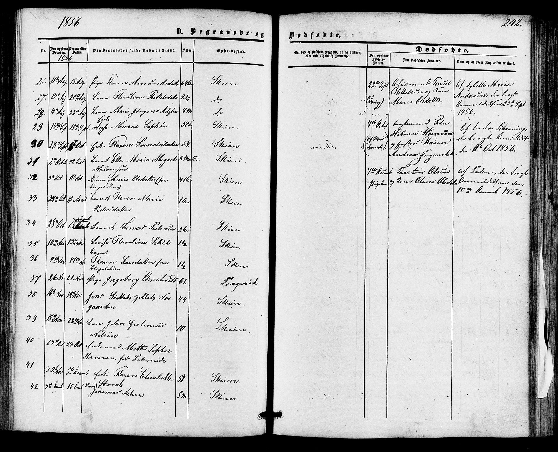 SAKO, Skien kirkebøker, F/Fa/L0007: Ministerialbok nr. 7, 1856-1865, s. 242