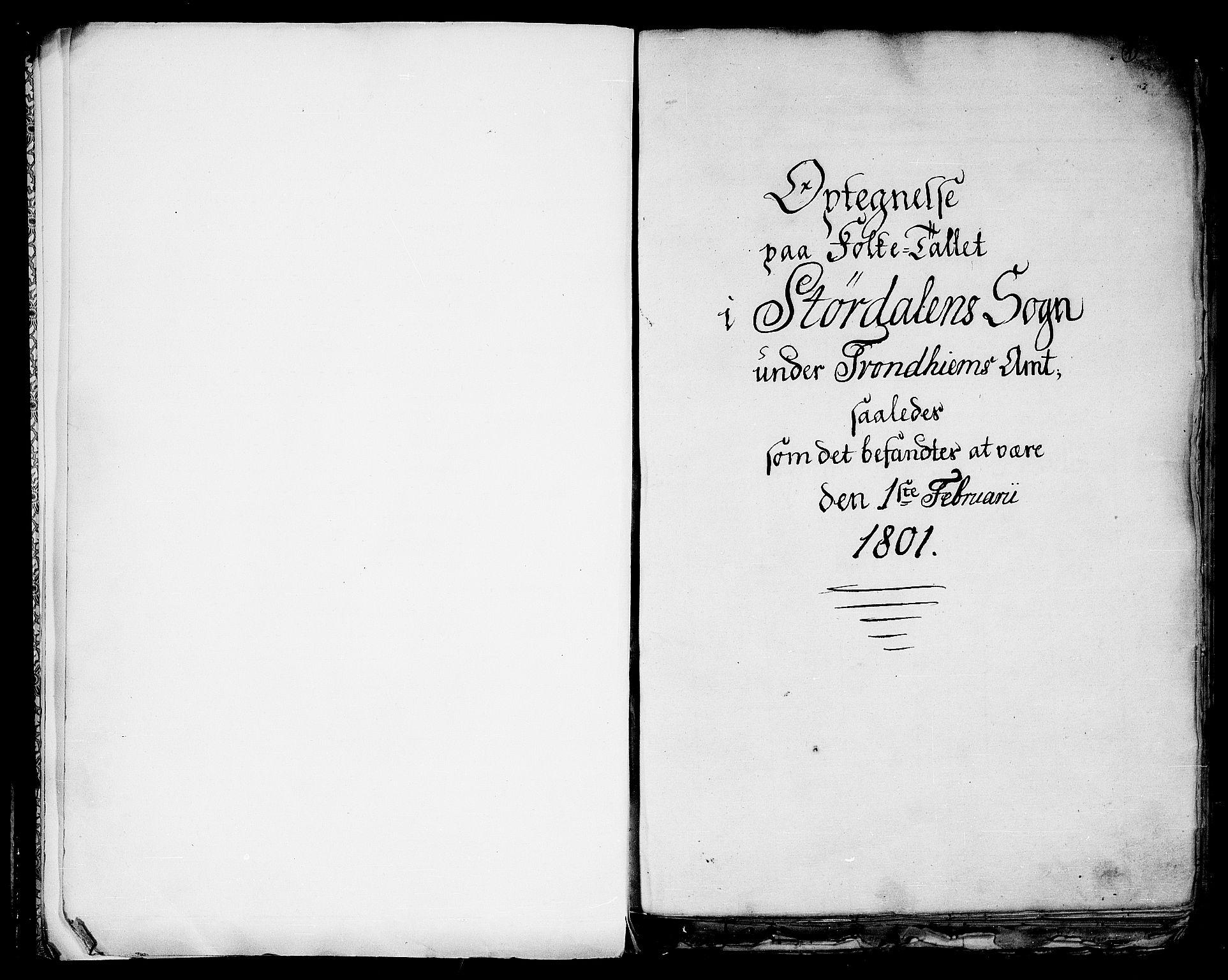 RA, Folketelling 1801 for 1714P Stjørdal prestegjeld, 1801, s. 1a