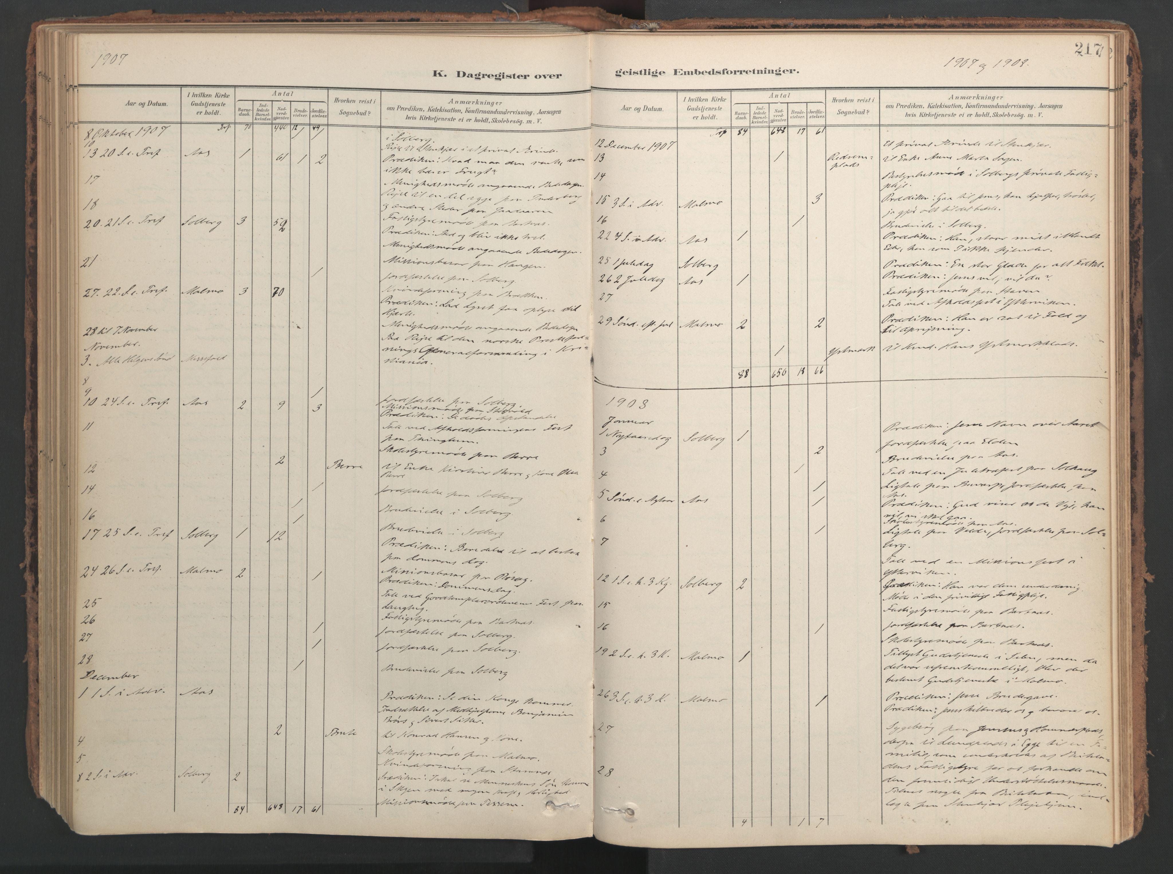 SAT, Ministerialprotokoller, klokkerbøker og fødselsregistre - Nord-Trøndelag, 741/L0397: Ministerialbok nr. 741A11, 1901-1911, s. 217