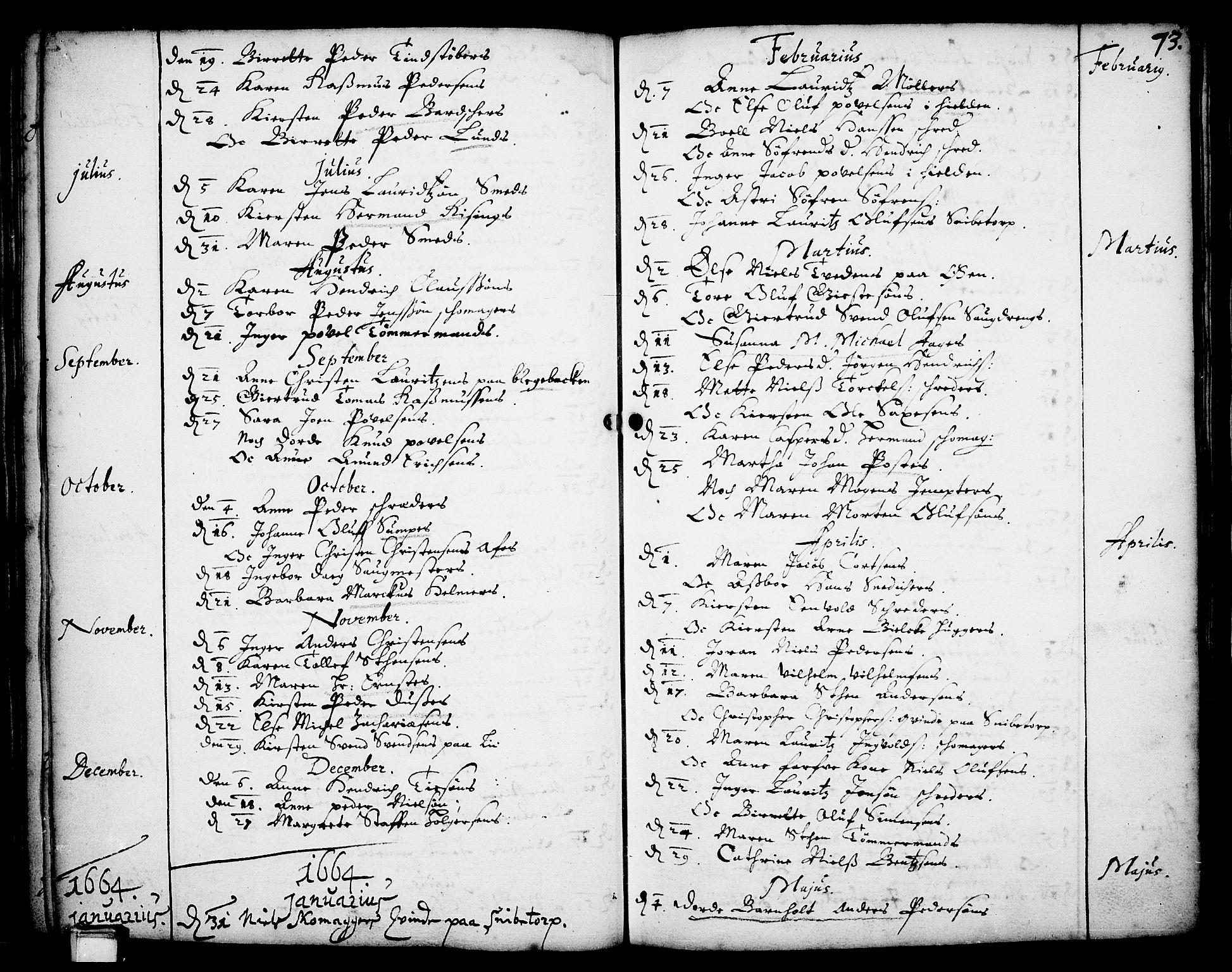 SAKO, Skien kirkebøker, F/Fa/L0001: Ministerialbok nr. 1, 1659-1679, s. 73