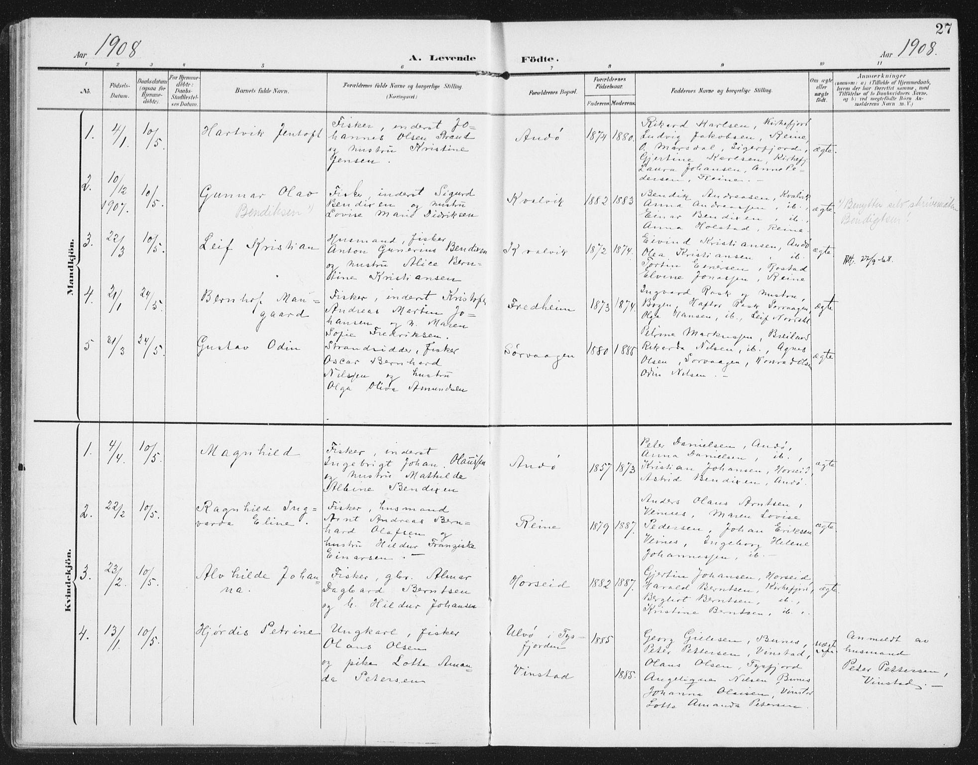 SAT, Ministerialprotokoller, klokkerbøker og fødselsregistre - Nordland, 886/L1221: Ministerialbok nr. 886A03, 1903-1913, s. 27