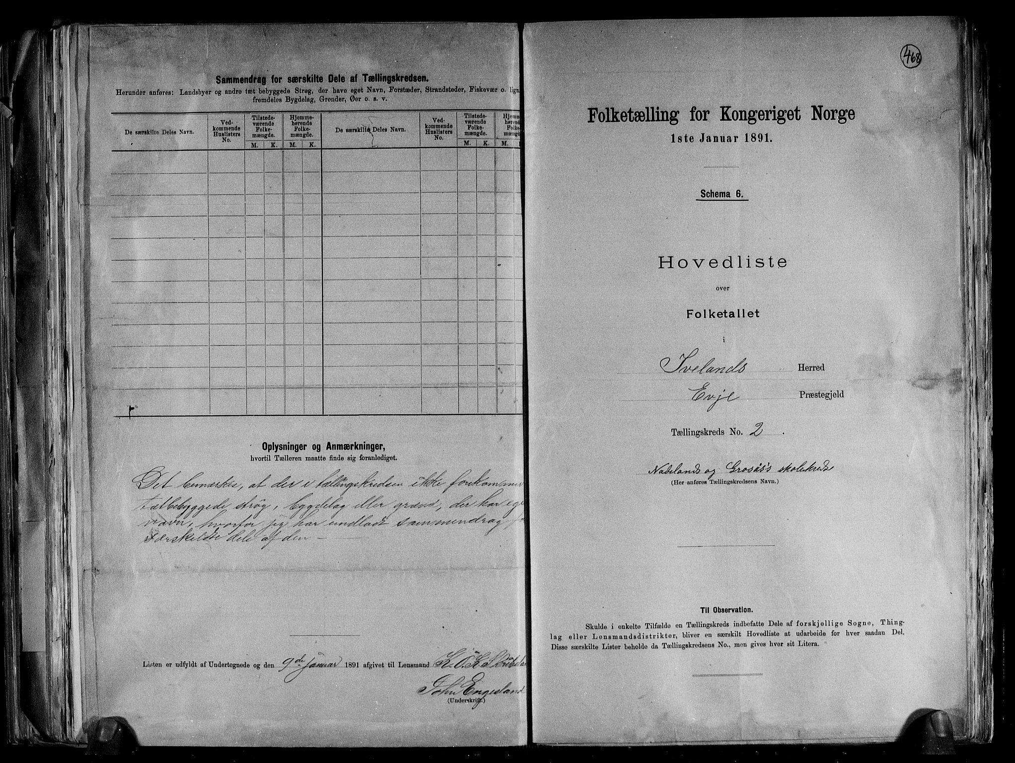 RA, Folketelling 1891 for 0935 Iveland herred, 1891, s. 6