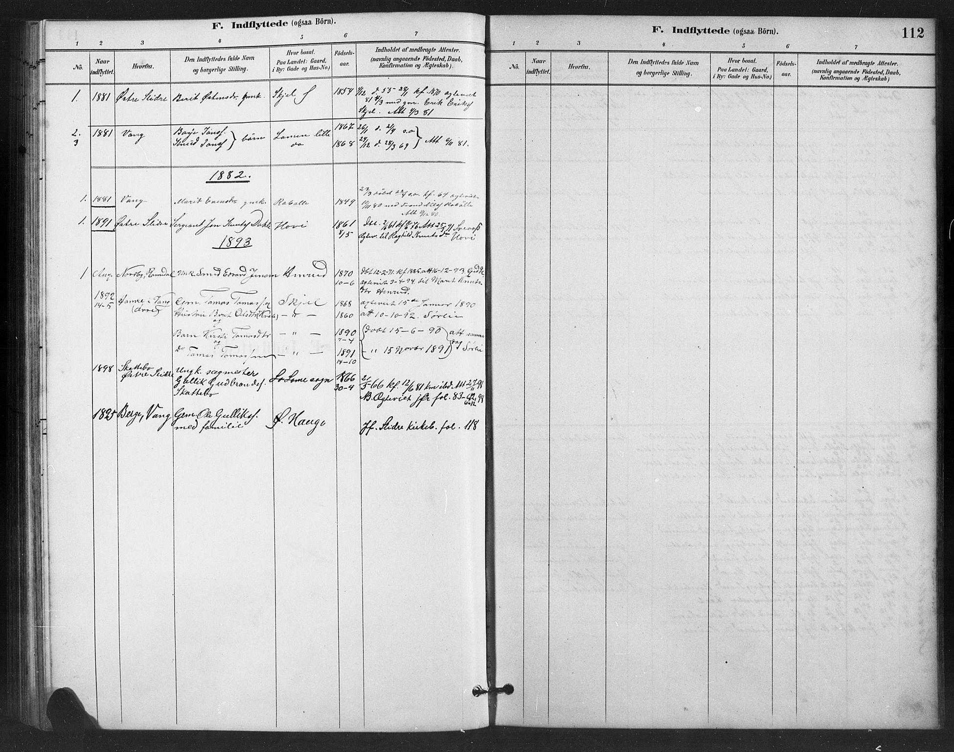 SAH, Vestre Slidre prestekontor, Klokkerbok nr. 6, 1881-1915, s. 112