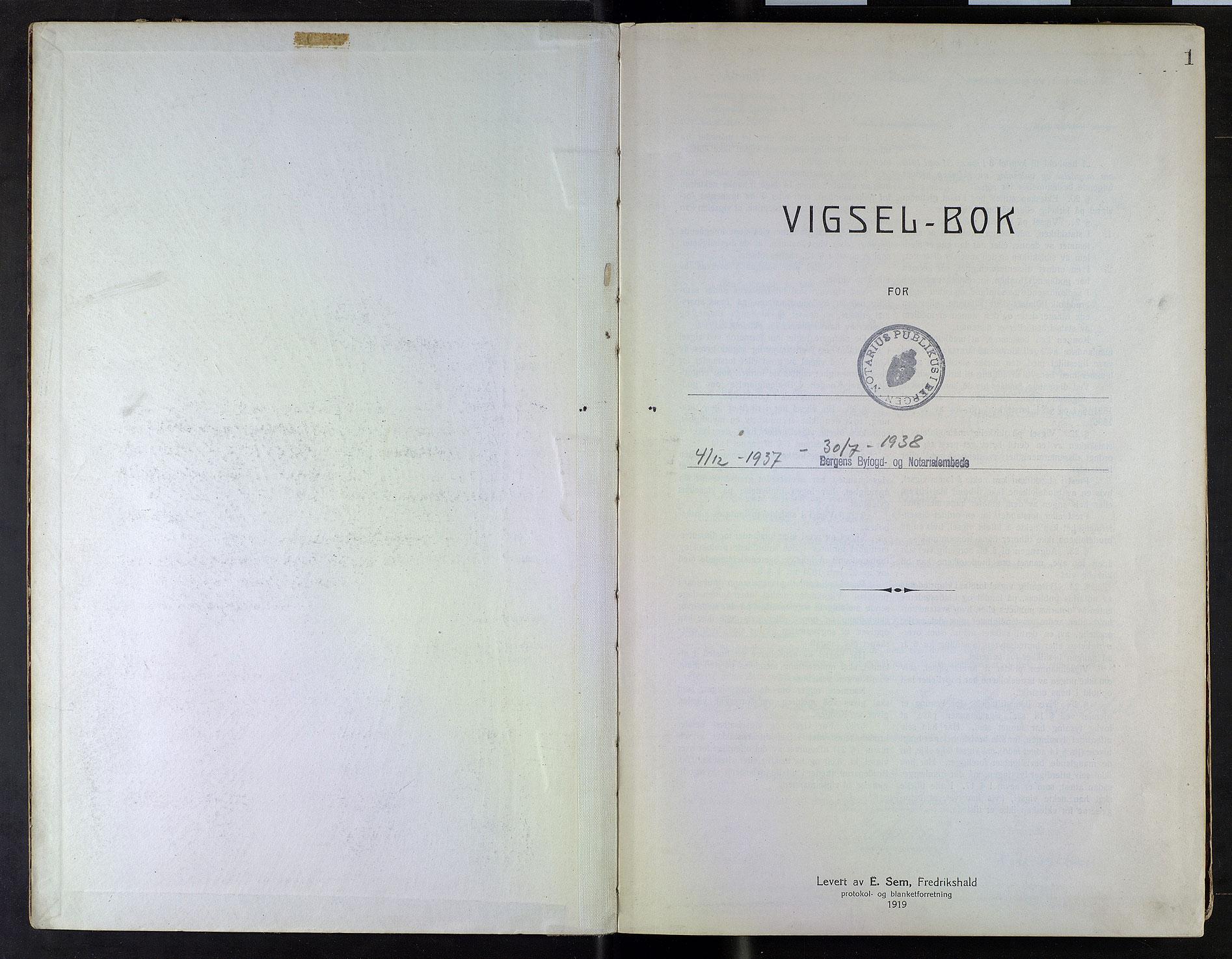 SAB, Bergen byfogd og byskriver*, 1937-1938, s. 1a