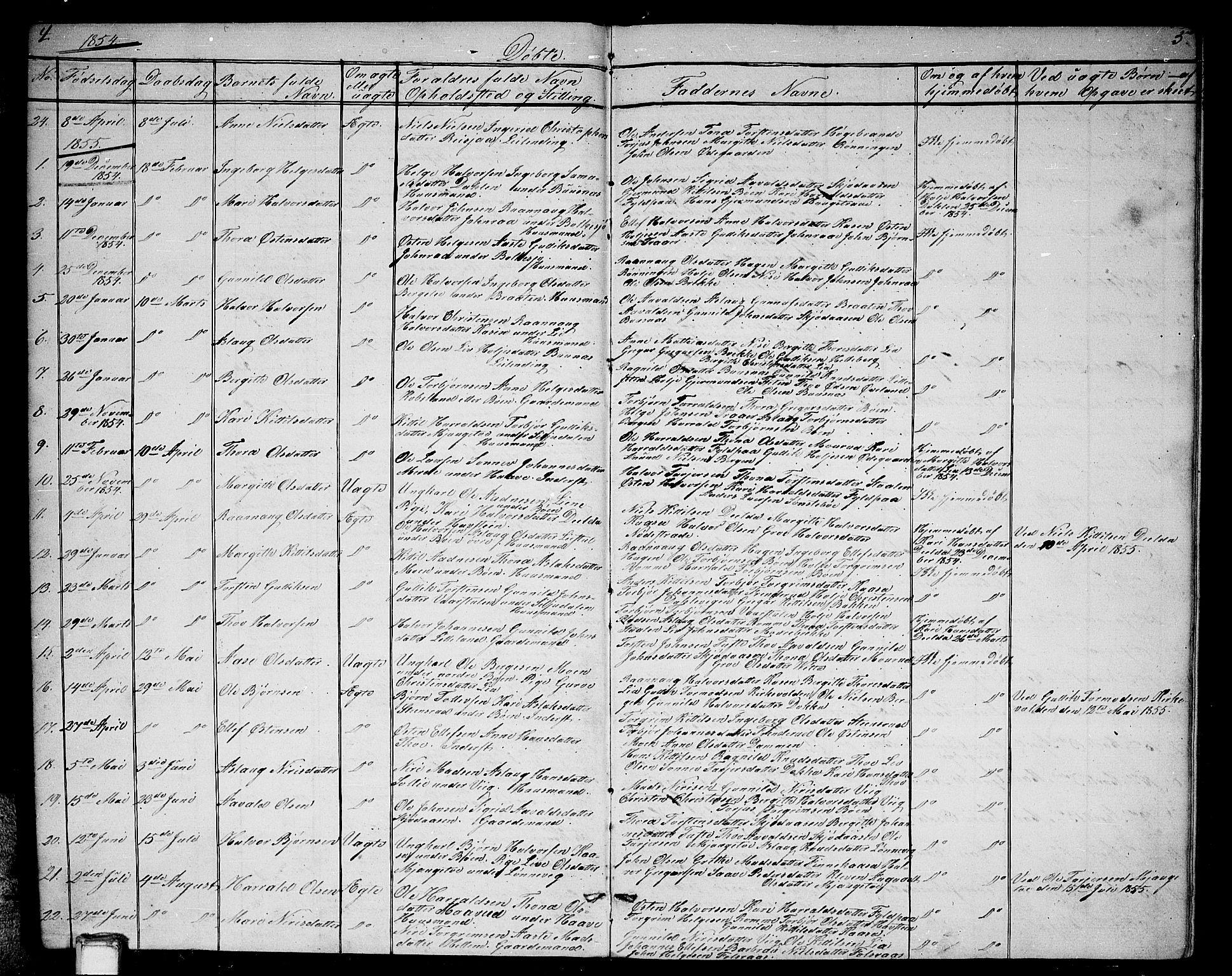 SAKO, Gransherad kirkebøker, G/Ga/L0002: Klokkerbok nr. I 2, 1854-1886, s. 4-5