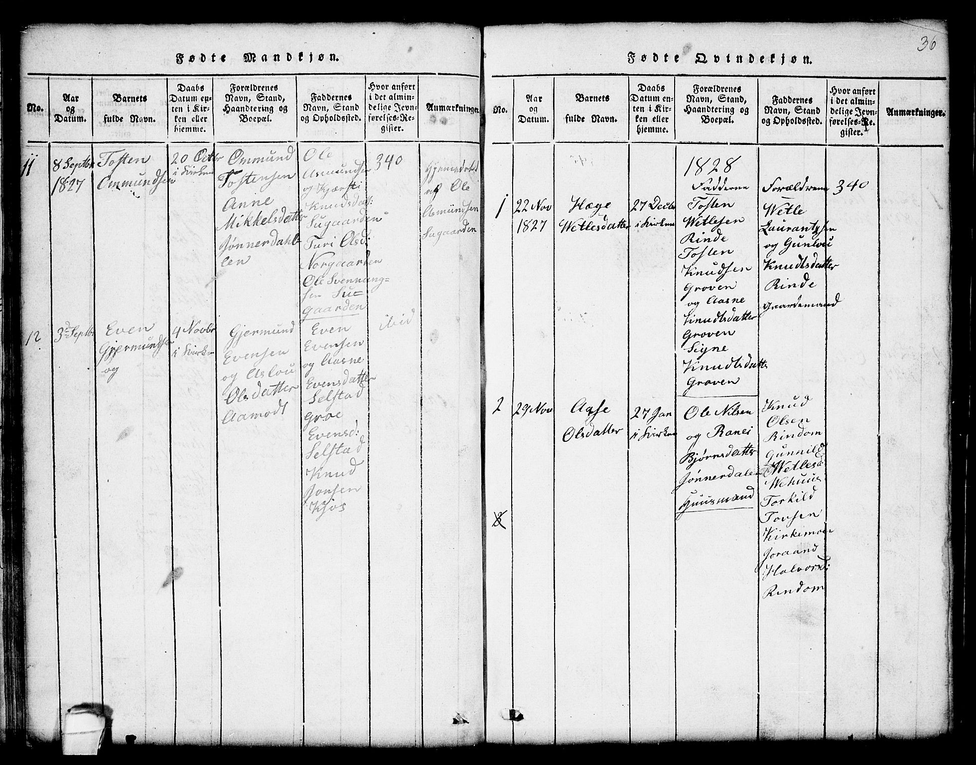 SAKO, Seljord kirkebøker, G/Gc/L0001: Klokkerbok nr. III 1, 1815-1849, s. 36