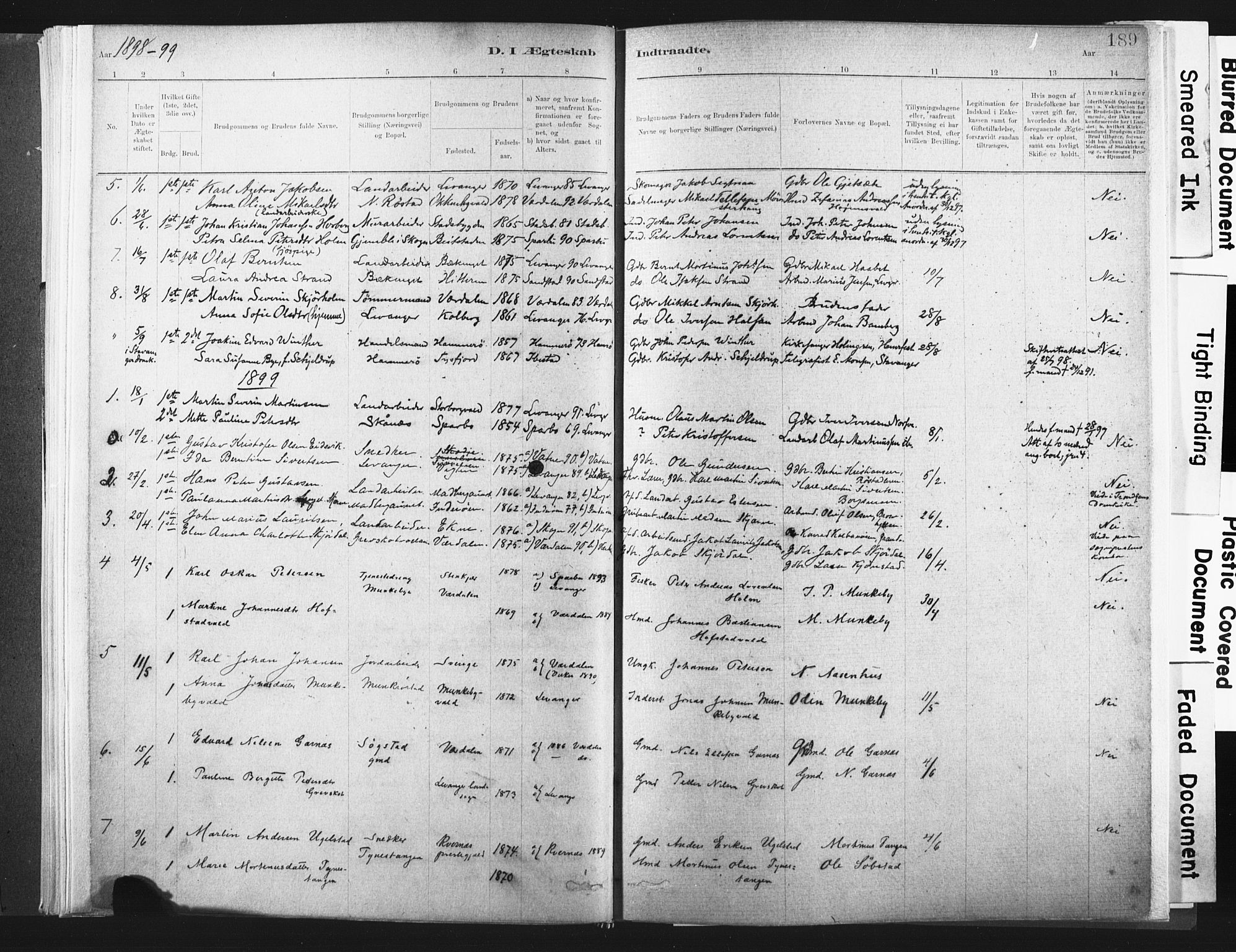SAT, Ministerialprotokoller, klokkerbøker og fødselsregistre - Nord-Trøndelag, 721/L0207: Ministerialbok nr. 721A02, 1880-1911, s. 189