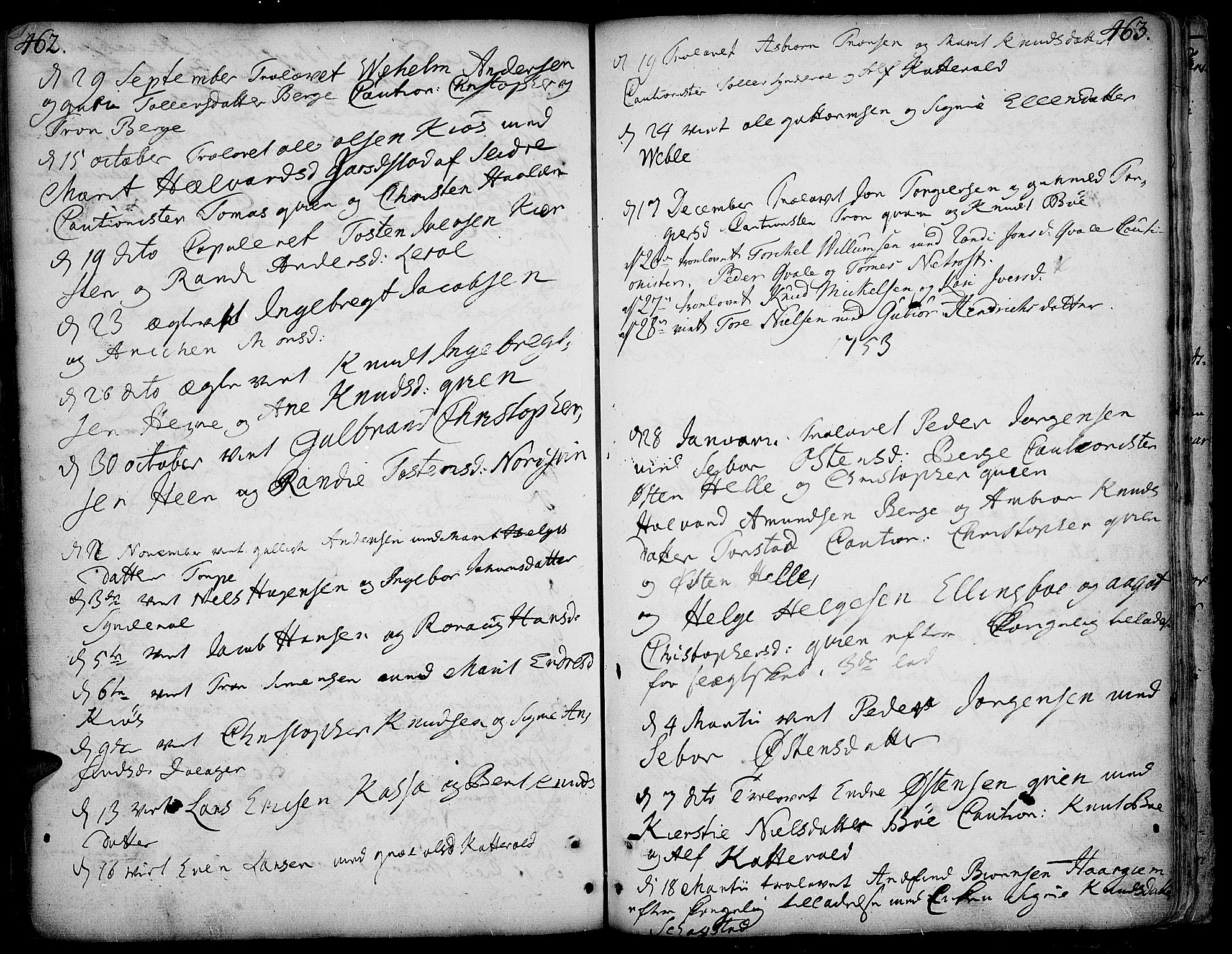 SAH, Vang prestekontor, Valdres, Ministerialbok nr. 1, 1730-1796, s. 462-463