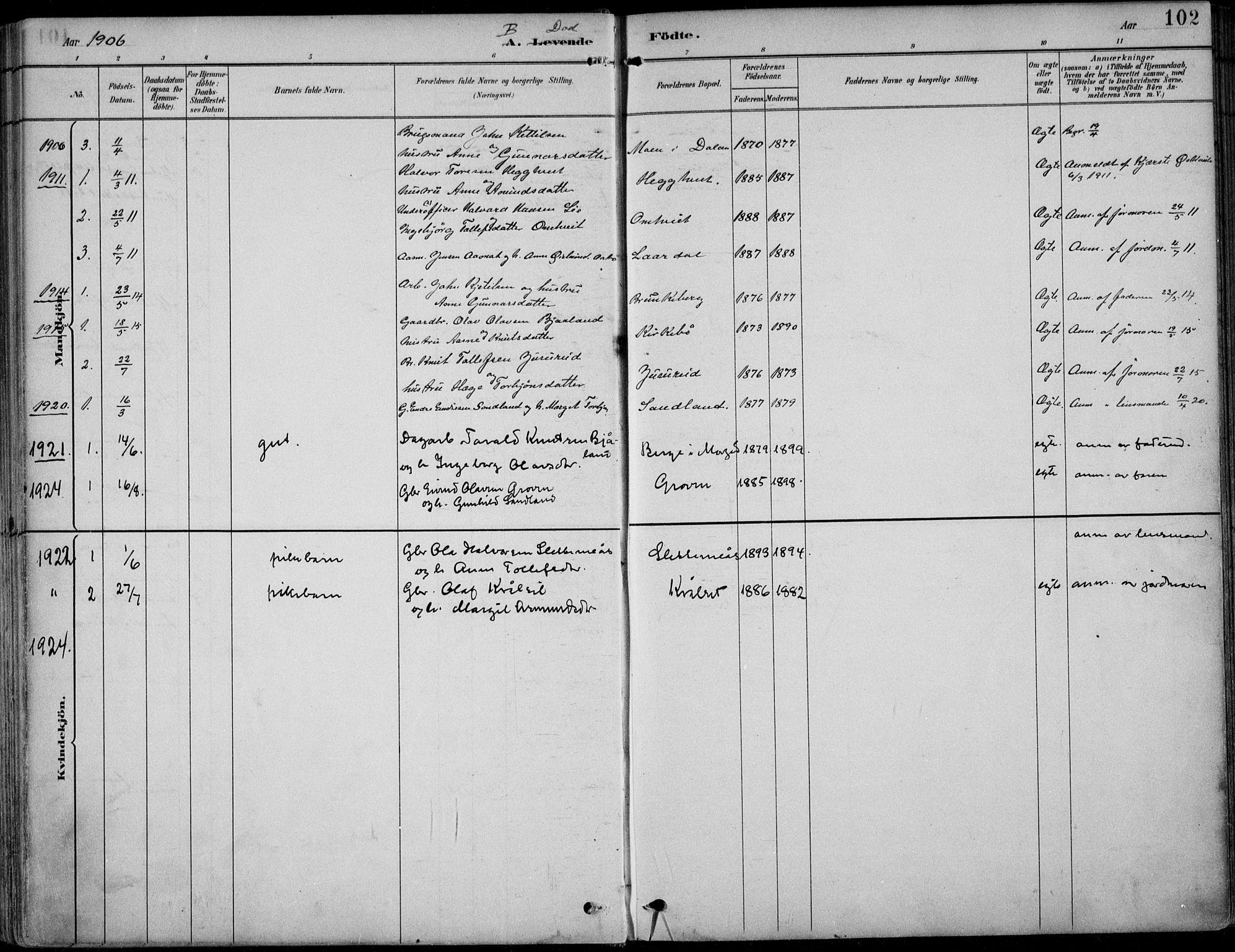SAKO, Kviteseid kirkebøker, F/Fb/L0002: Ministerialbok nr. II 2, 1882-1916, s. 102