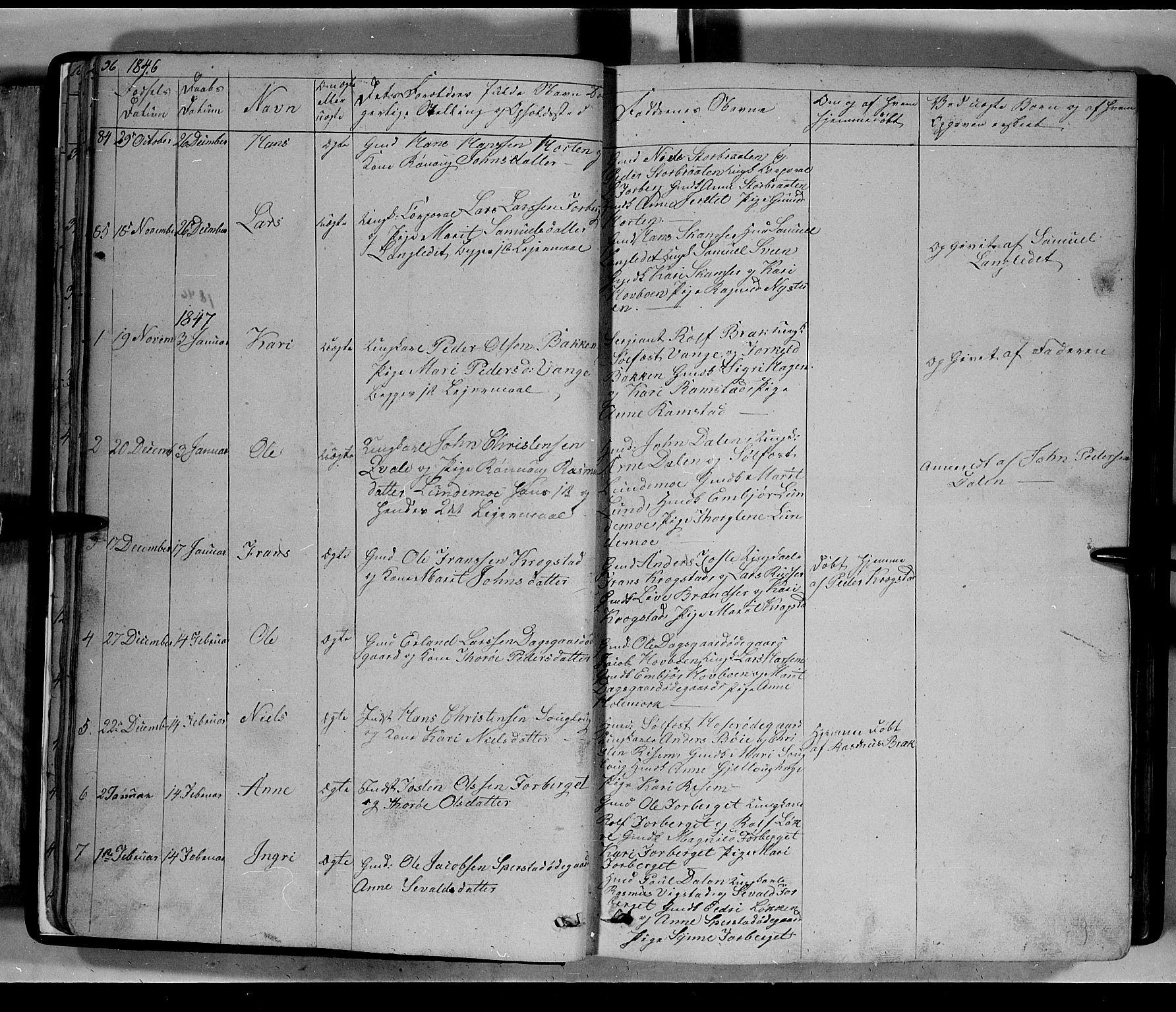 SAH, Lom prestekontor, L/L0004: Klokkerbok nr. 4, 1845-1864, s. 36-37