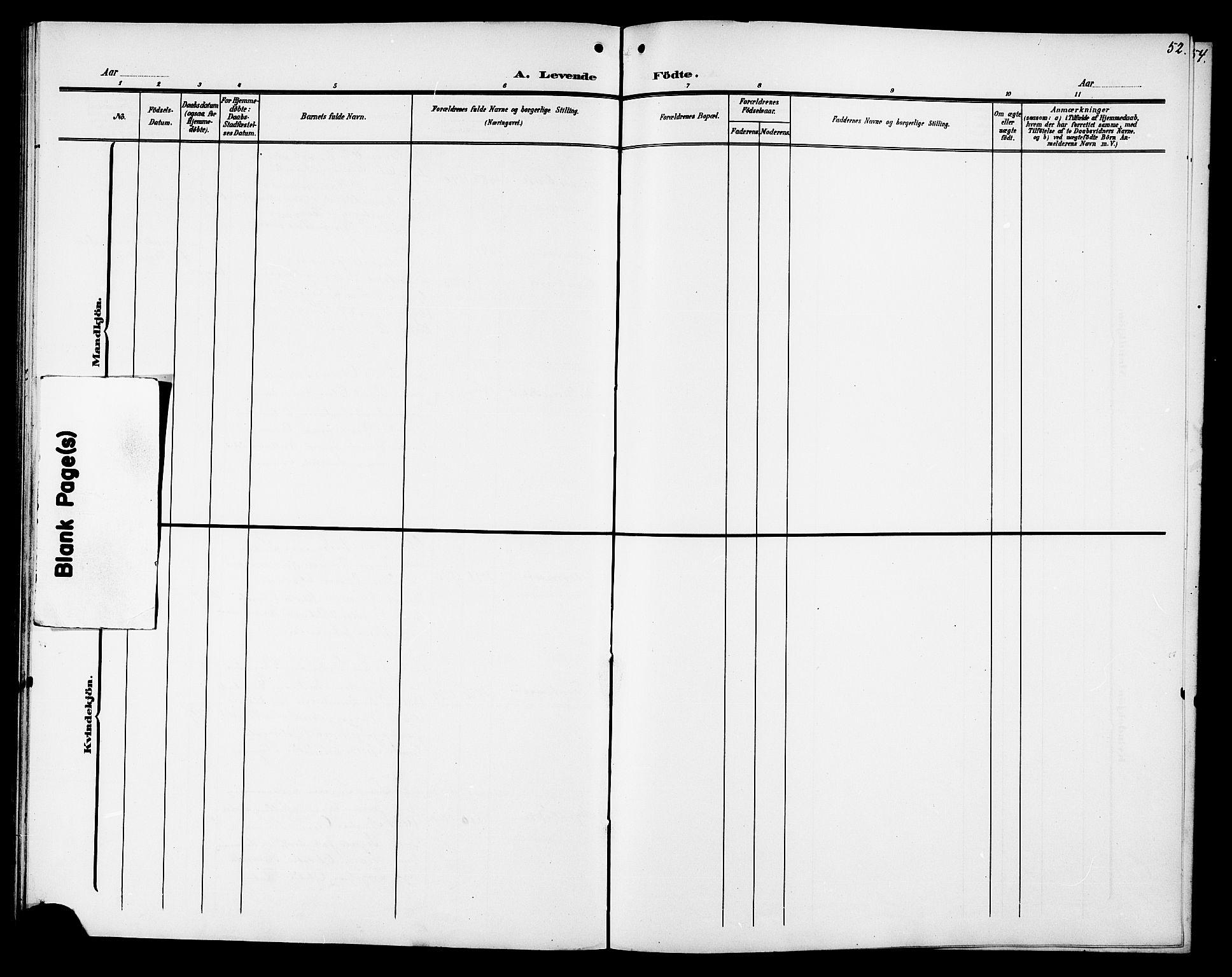 SAT, Ministerialprotokoller, klokkerbøker og fødselsregistre - Sør-Trøndelag, 694/L1133: Klokkerbok nr. 694C05, 1901-1914, s. 52