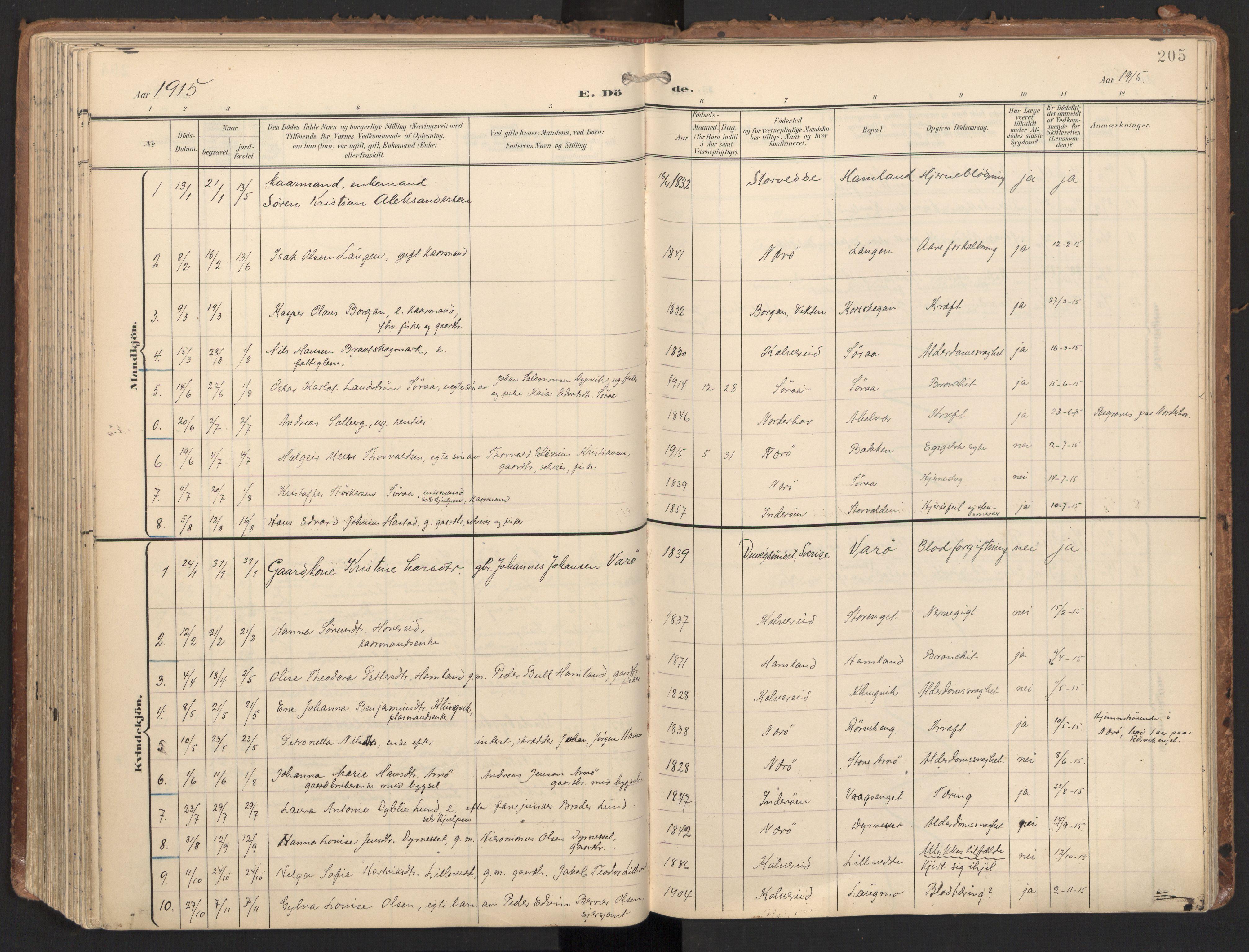 SAT, Ministerialprotokoller, klokkerbøker og fødselsregistre - Nord-Trøndelag, 784/L0677: Ministerialbok nr. 784A12, 1900-1920, s. 205