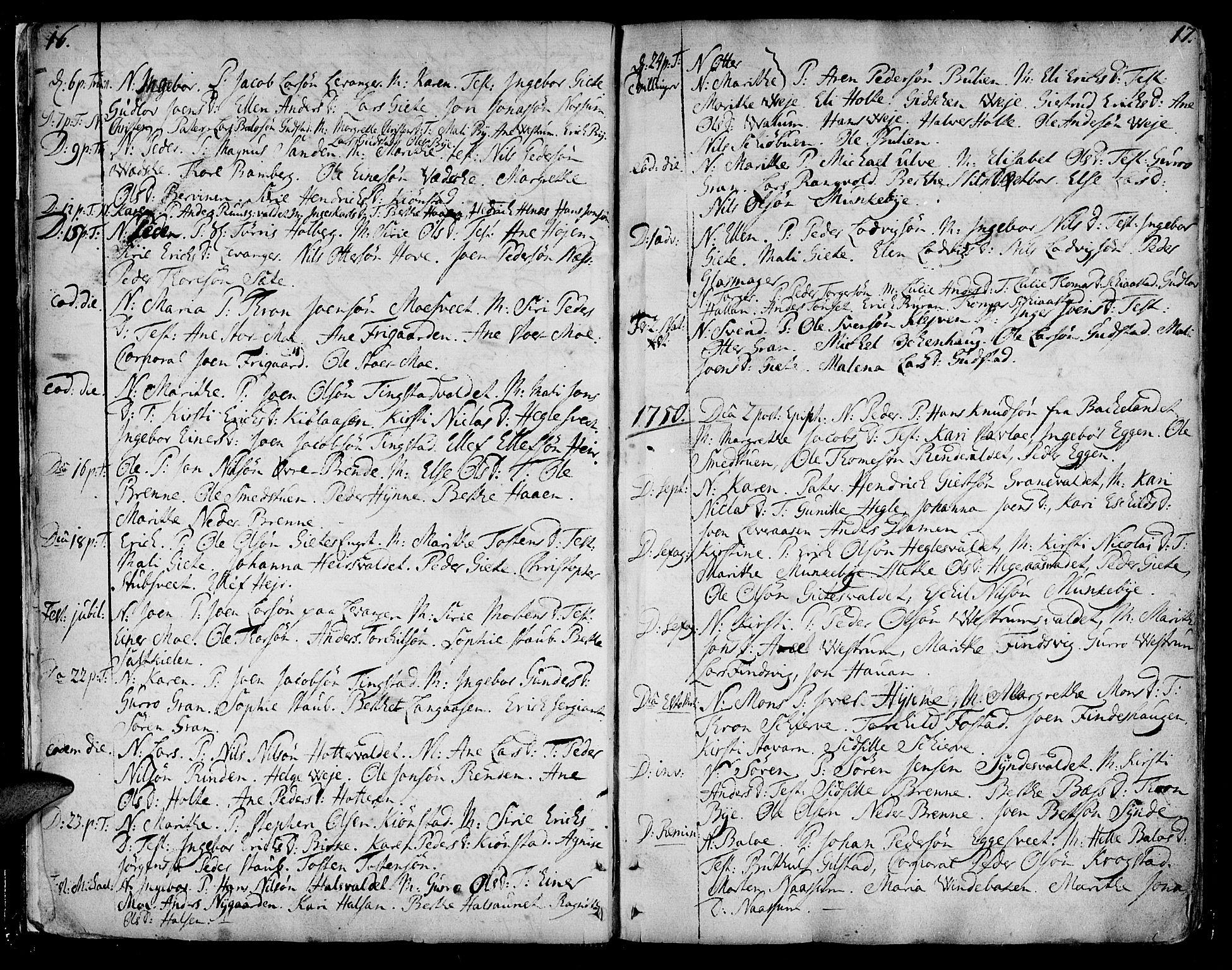 SAT, Ministerialprotokoller, klokkerbøker og fødselsregistre - Nord-Trøndelag, 717/L0141: Ministerialbok nr. 717A01, 1747-1803, s. 16-17