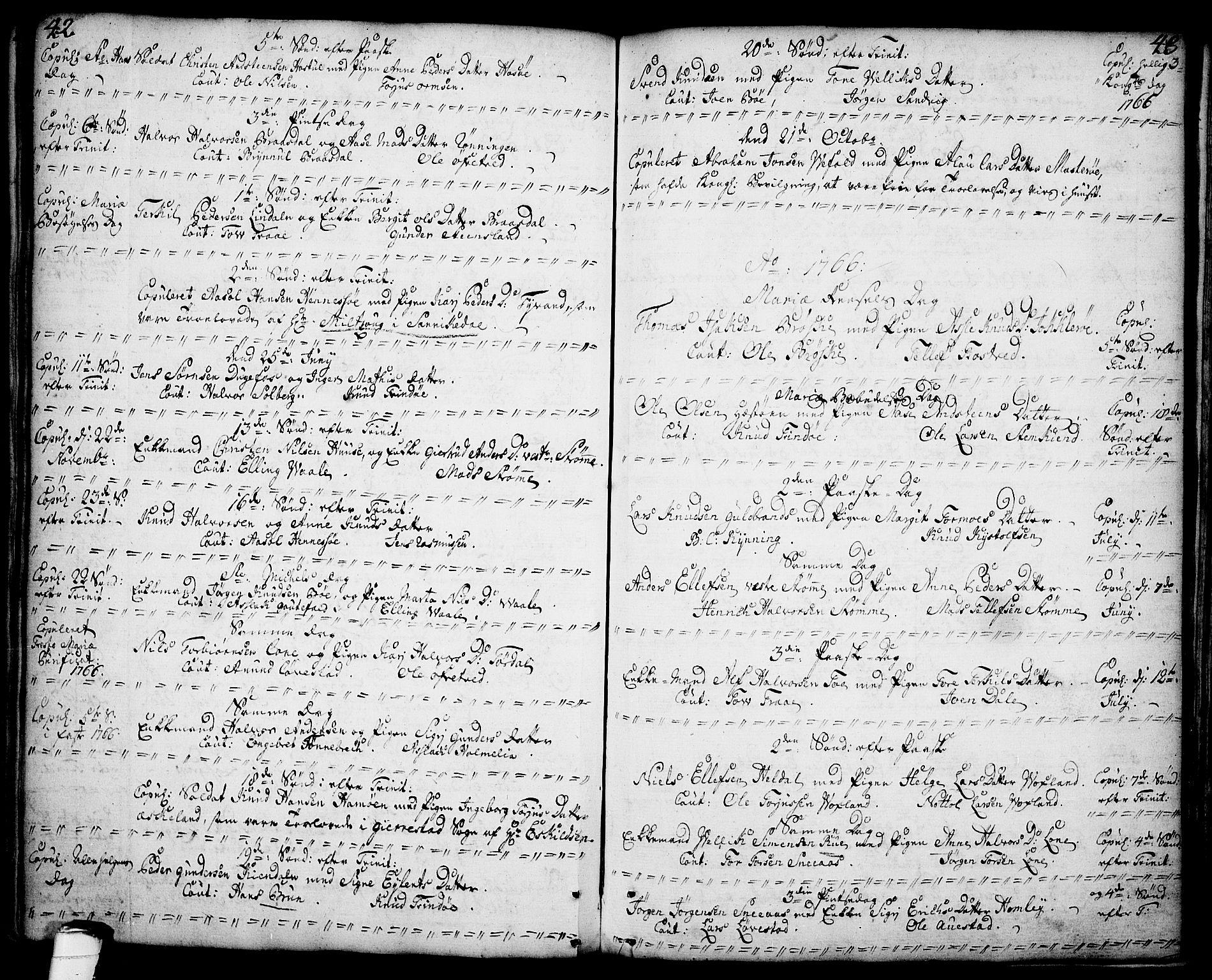 SAKO, Drangedal kirkebøker, F/Fa/L0001: Ministerialbok nr. 1, 1697-1767, s. 42-43