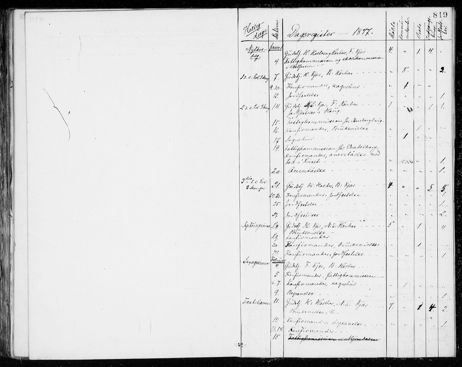 SAKO, Eiker kirkebøker, G/Ga/L0004: Klokkerbok nr. I 4, 1877-1877, s. 819