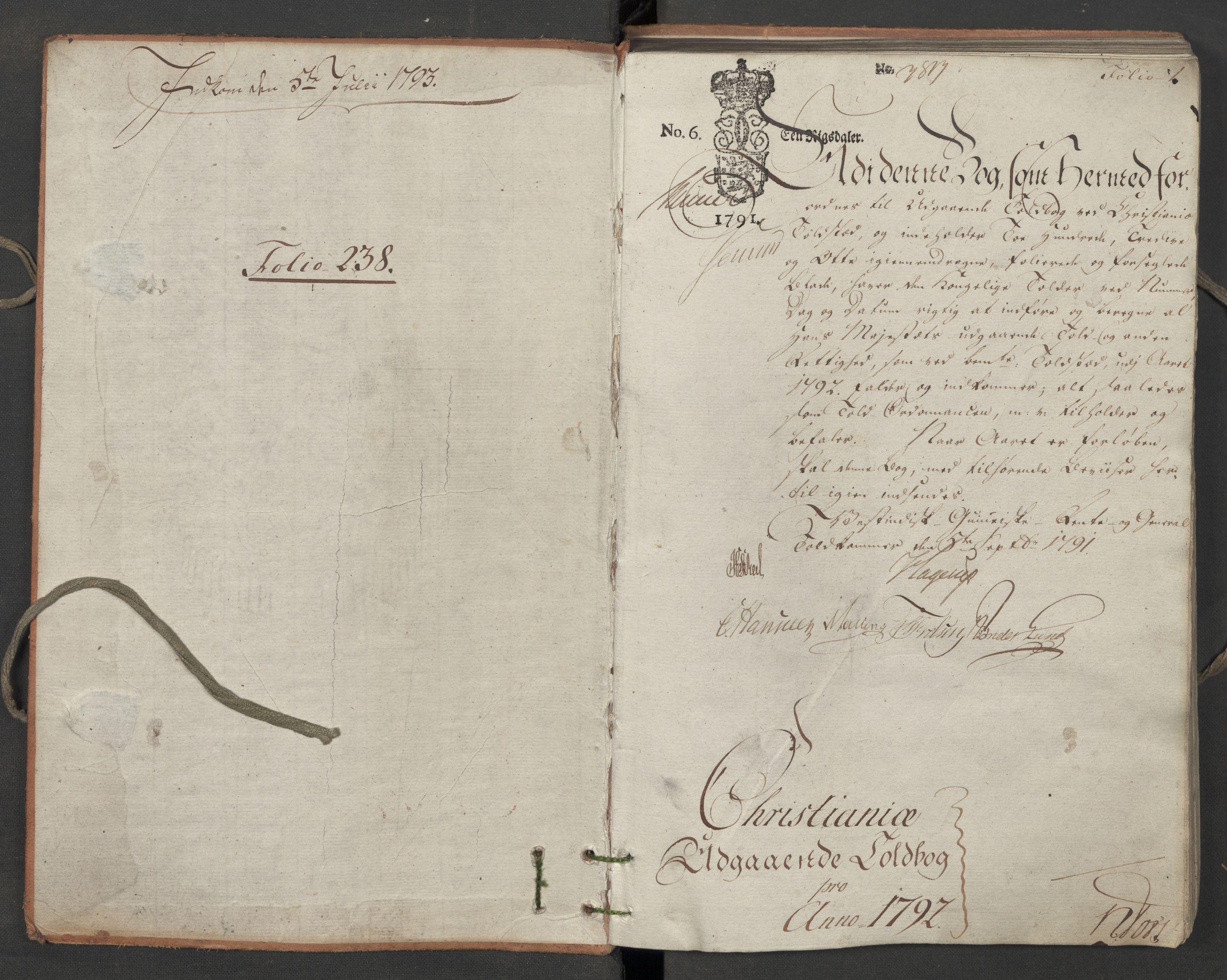 RA, Generaltollkammeret, tollregnskaper, R06/L0187: Tollregnskaper Kristiania, 1790-1792