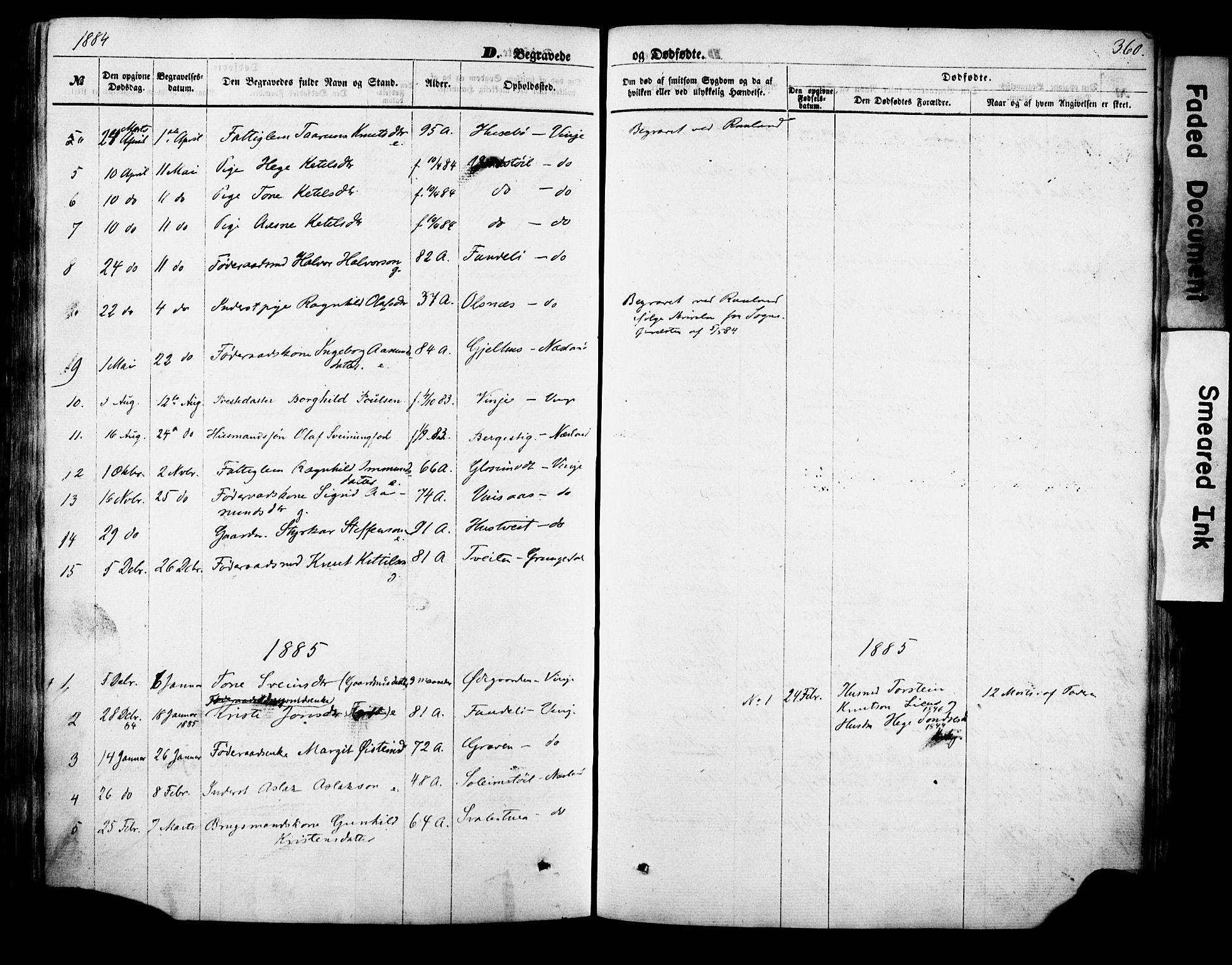 SAKO, Vinje kirkebøker, F/Fa/L0005: Ministerialbok nr. I 5, 1870-1886, s. 360