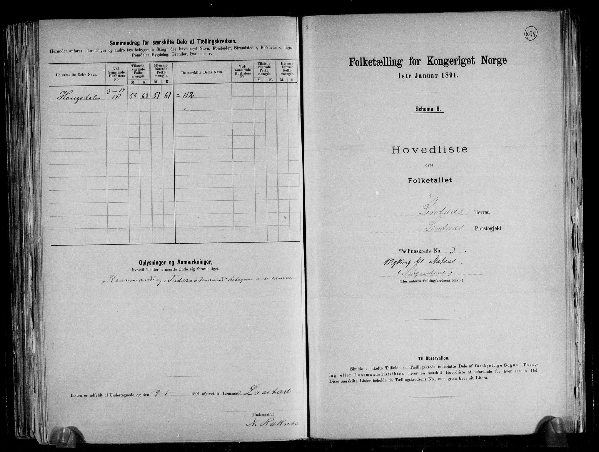 RA, Folketelling 1891 for 1263 Lindås herred, 1891, s. 13