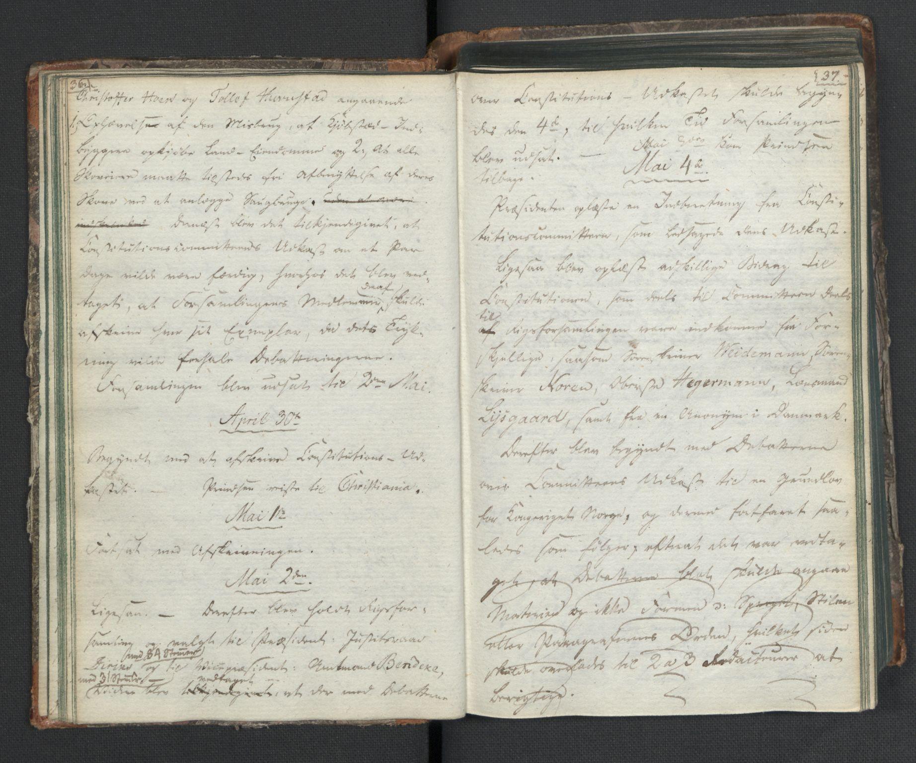 RA, Manuskriptsamlingen, H/L0021: Byfogd Gregers Winther Wulfbergs dagbok under Riksforsamlingen på Eidsvoll, 1814, s. 36-37